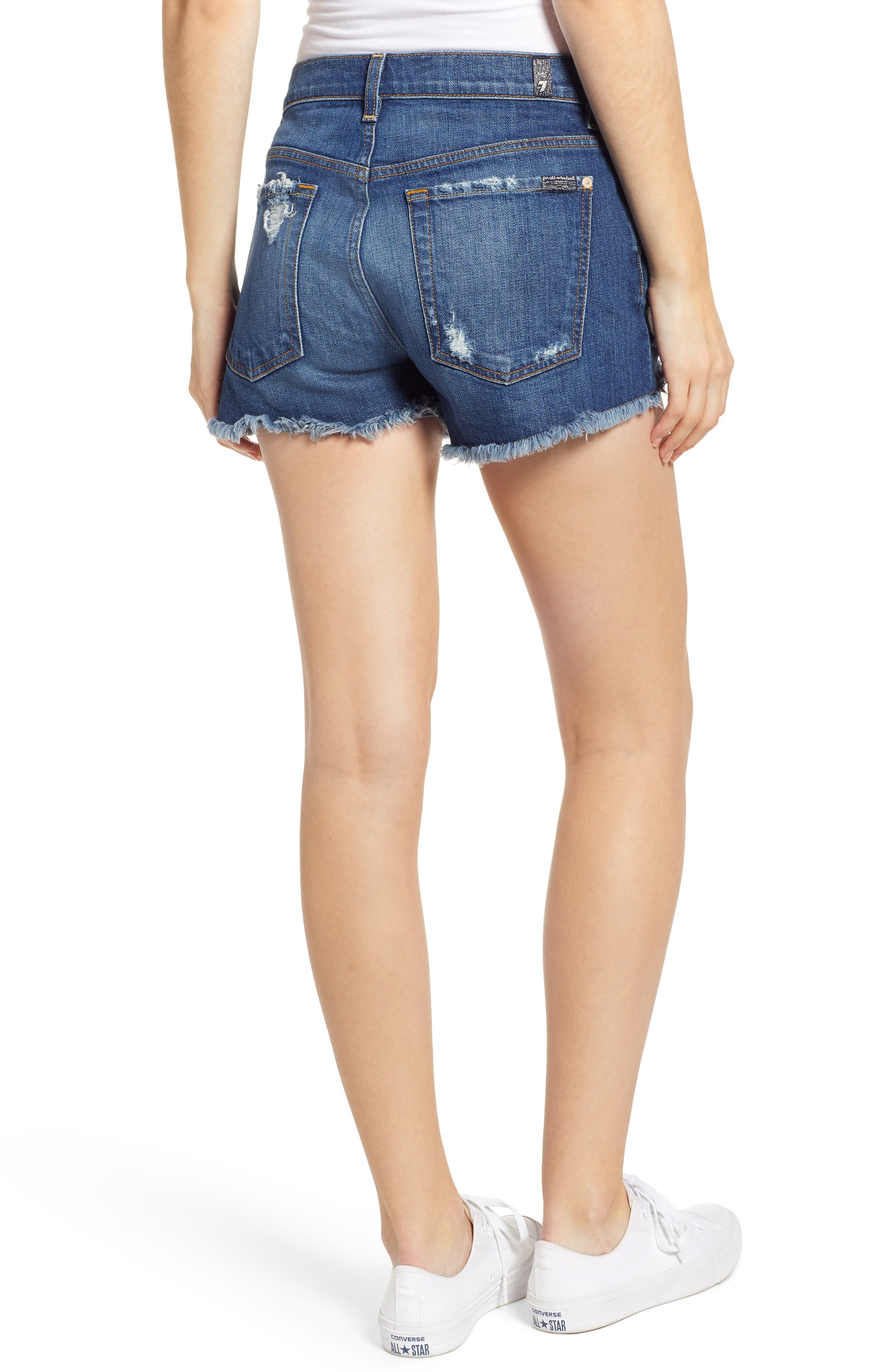 7 FOR ALL MANKIND<SUP>®</SUP>, High Waist Destroyed Cutoff Denim Shorts, Alternate thumbnail 2, color, BLUE MONDAY