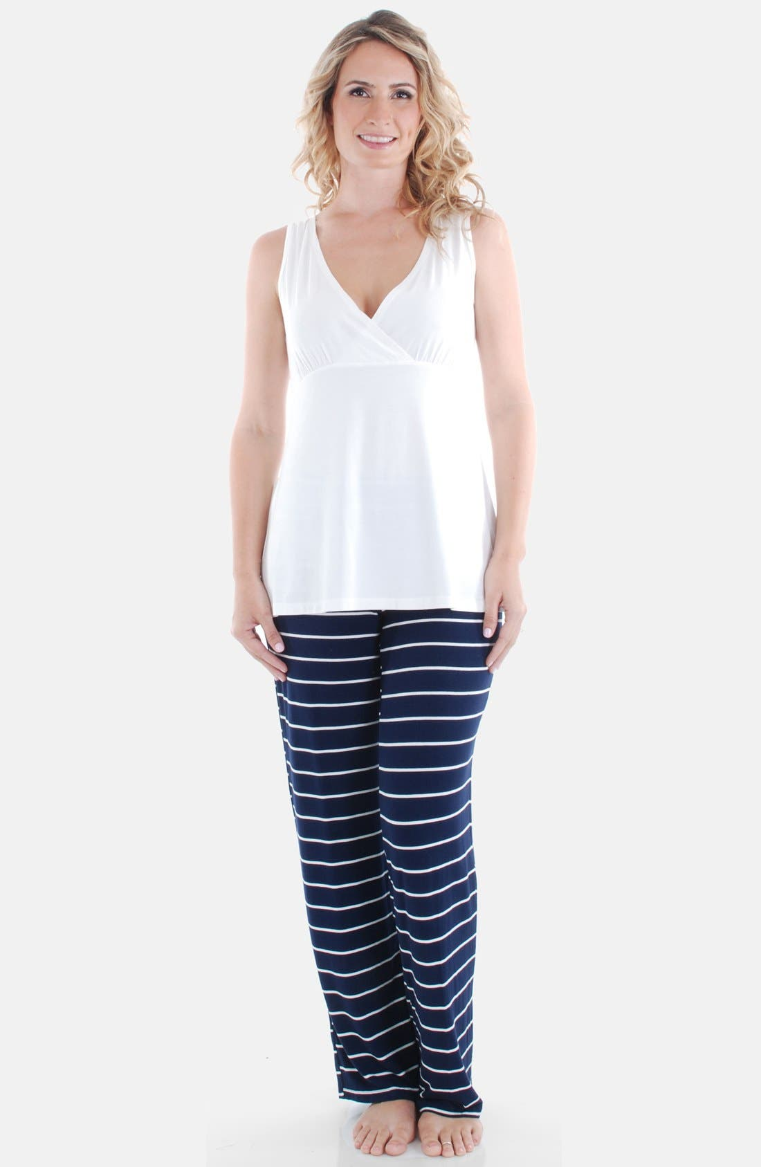 EVERLY GREY, Roxanne - During & After 5-Piece Maternity Sleepwear Set, Alternate thumbnail 7, color, NAVY