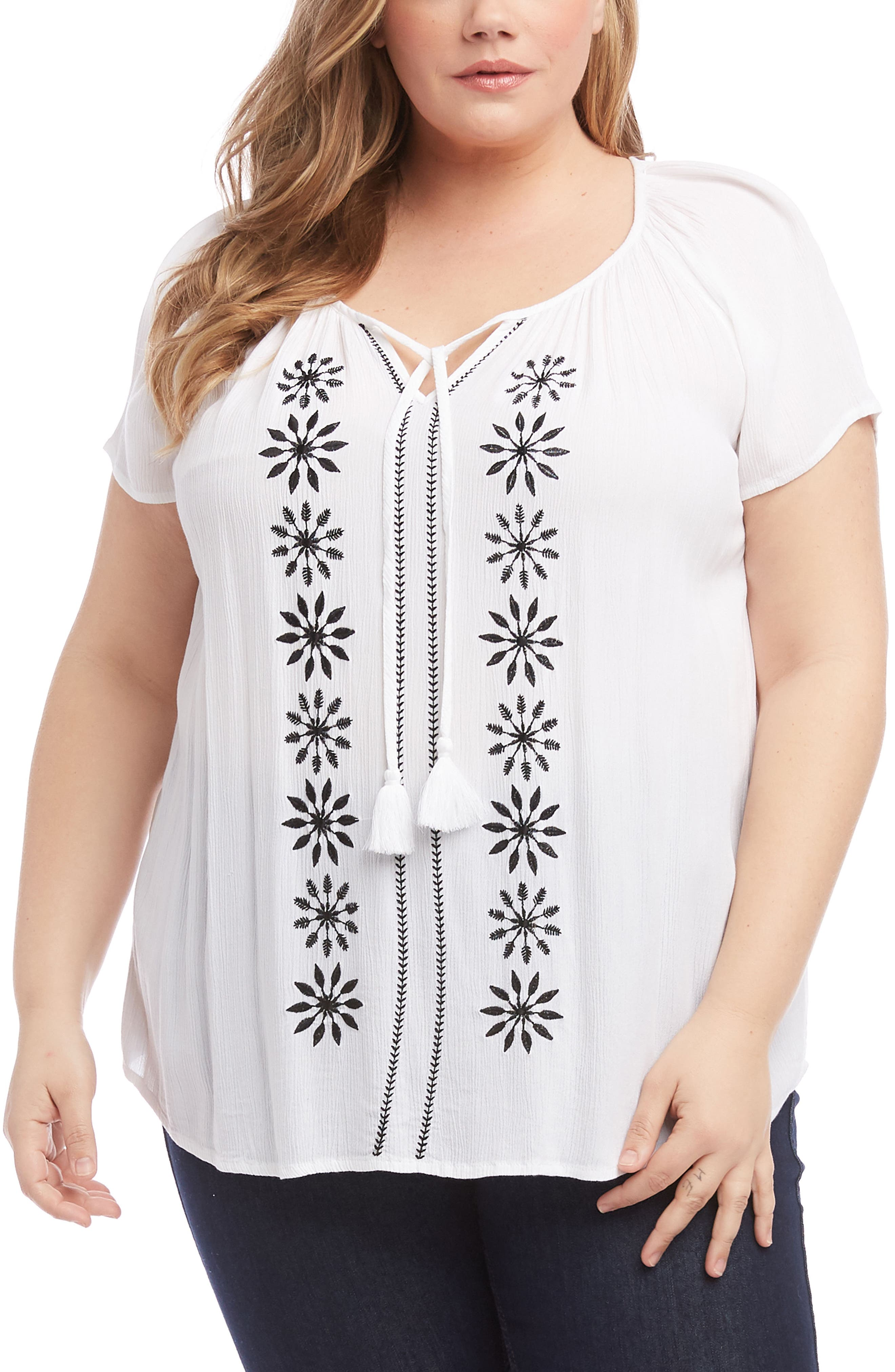 KAREN KANE, Embroidered Peasant Top, Main thumbnail 1, color, OFF WHITE WITH BLACK