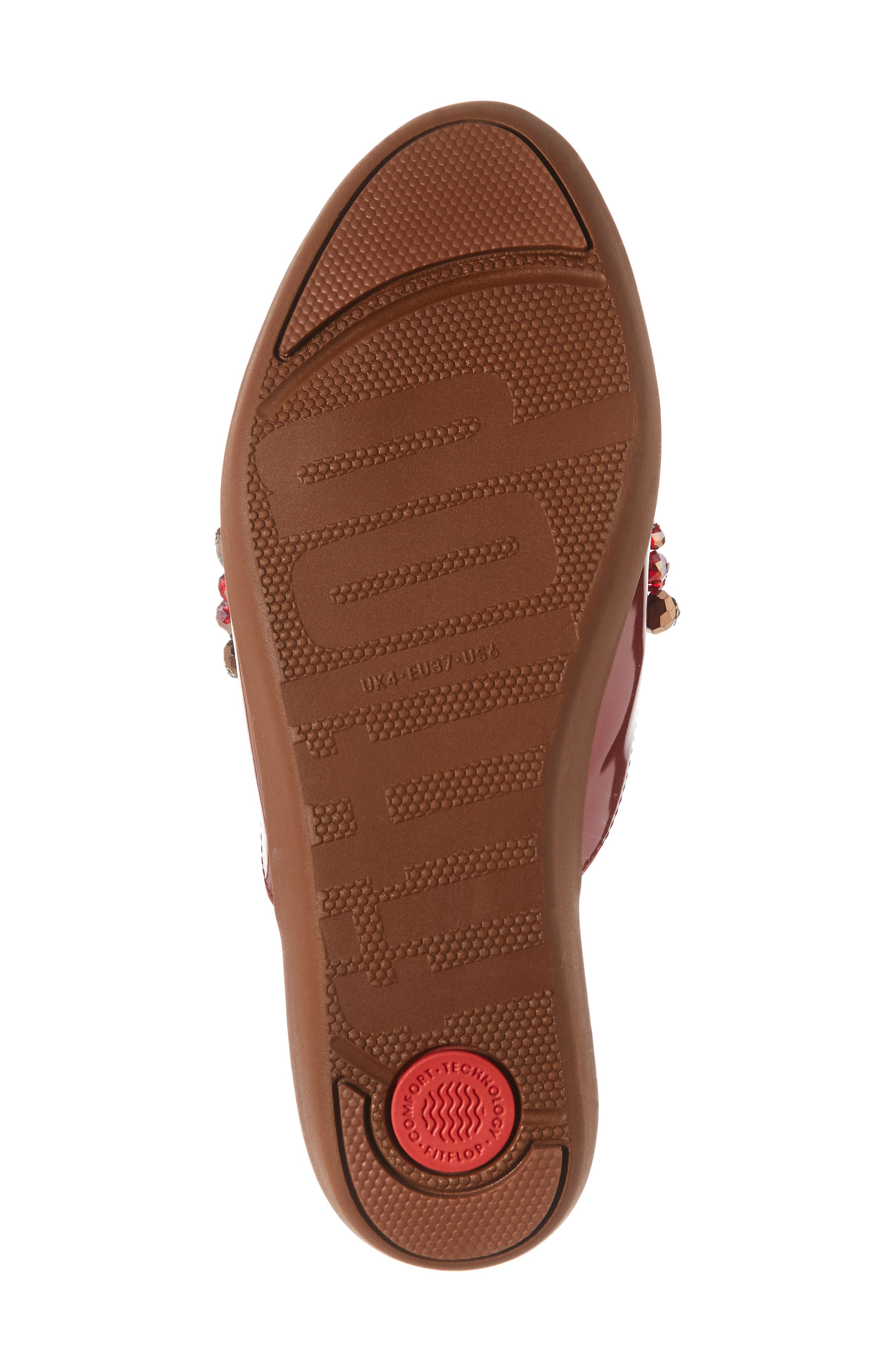 FITFLOP, Serene Beaded Mule, Alternate thumbnail 6, color, FIRE RED PATENT LEATHER