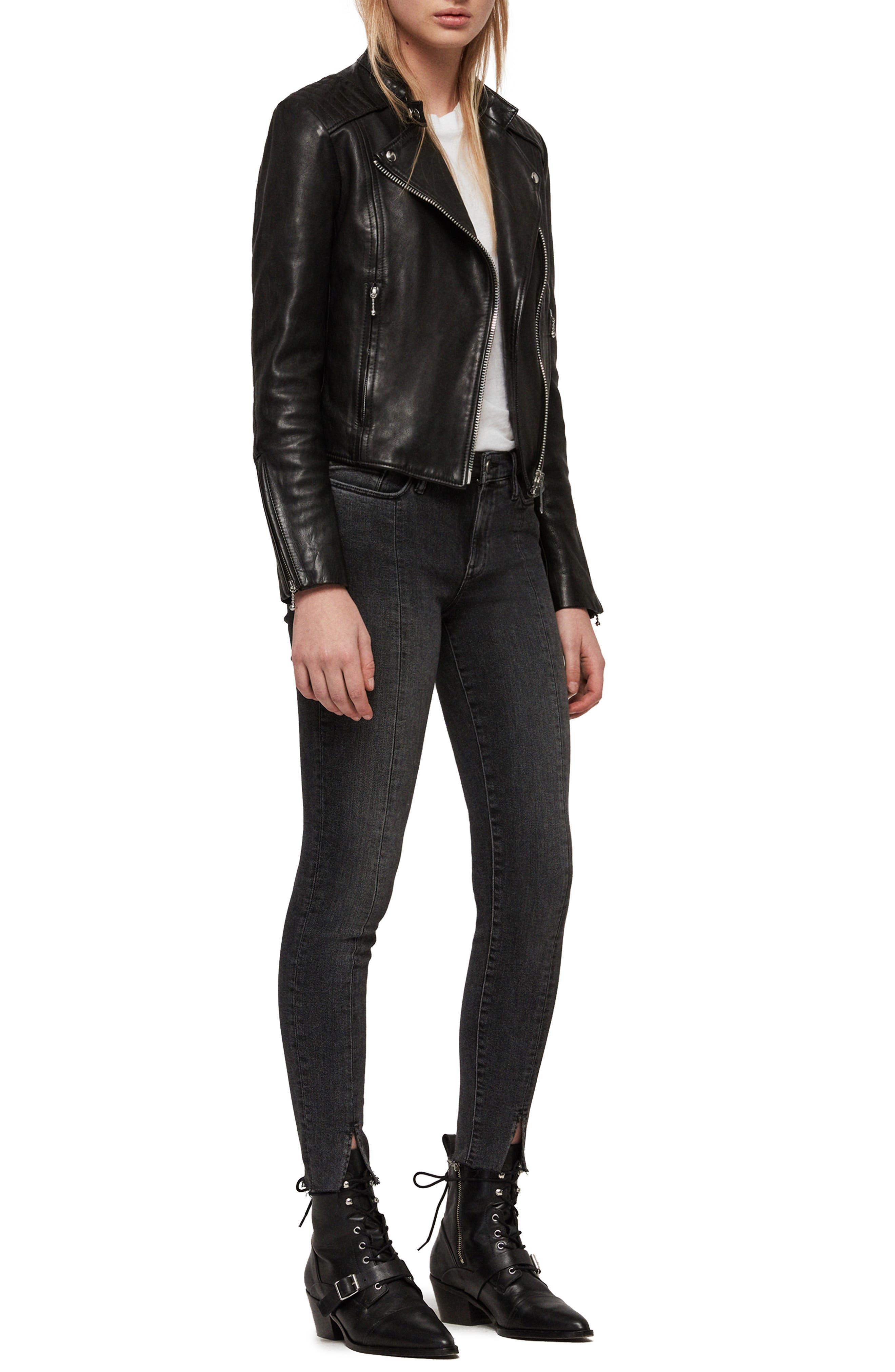 ALLSAINTS, Bircham Leather Biker Jacket, Alternate thumbnail 6, color, BLACK