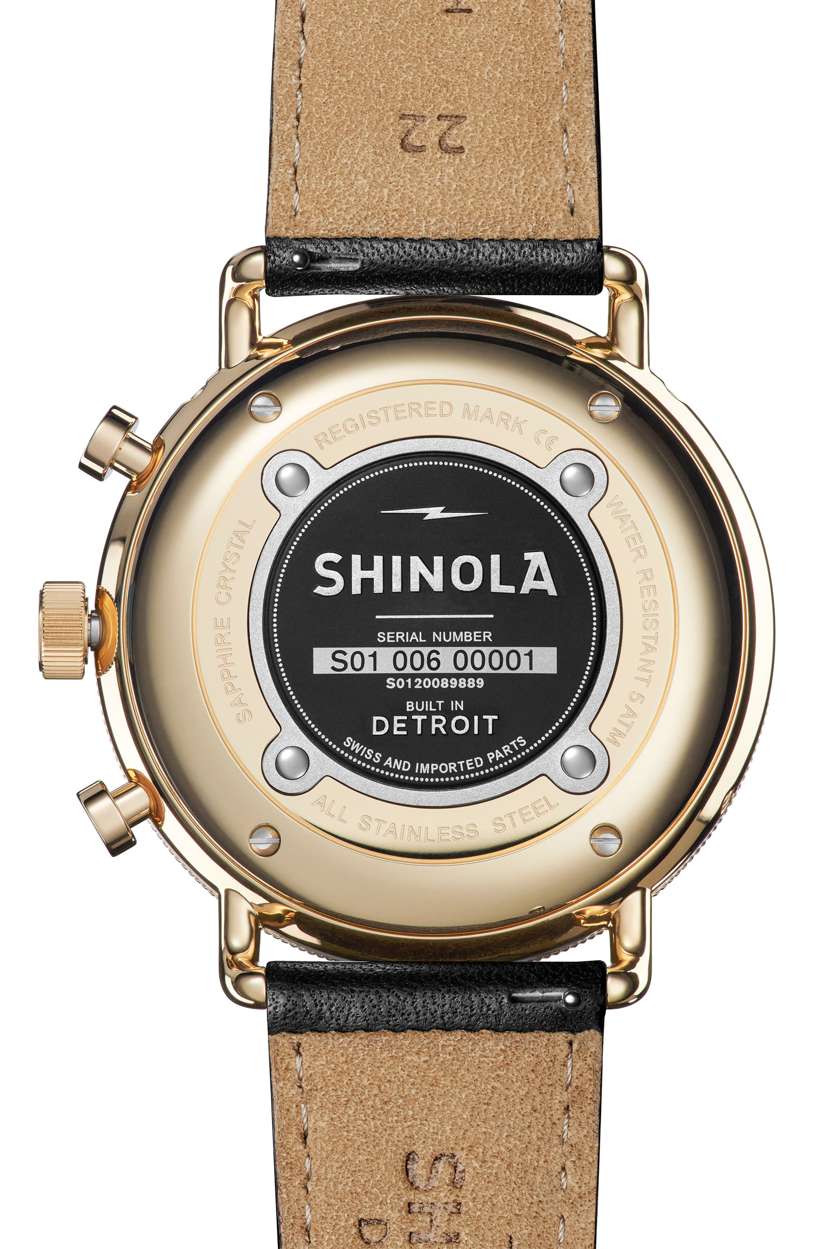 SHINOLA, The Canfield Sport Chrongraph Leather Strap Watch, 45mm, Alternate thumbnail 2, color, BLACK/ GOLD