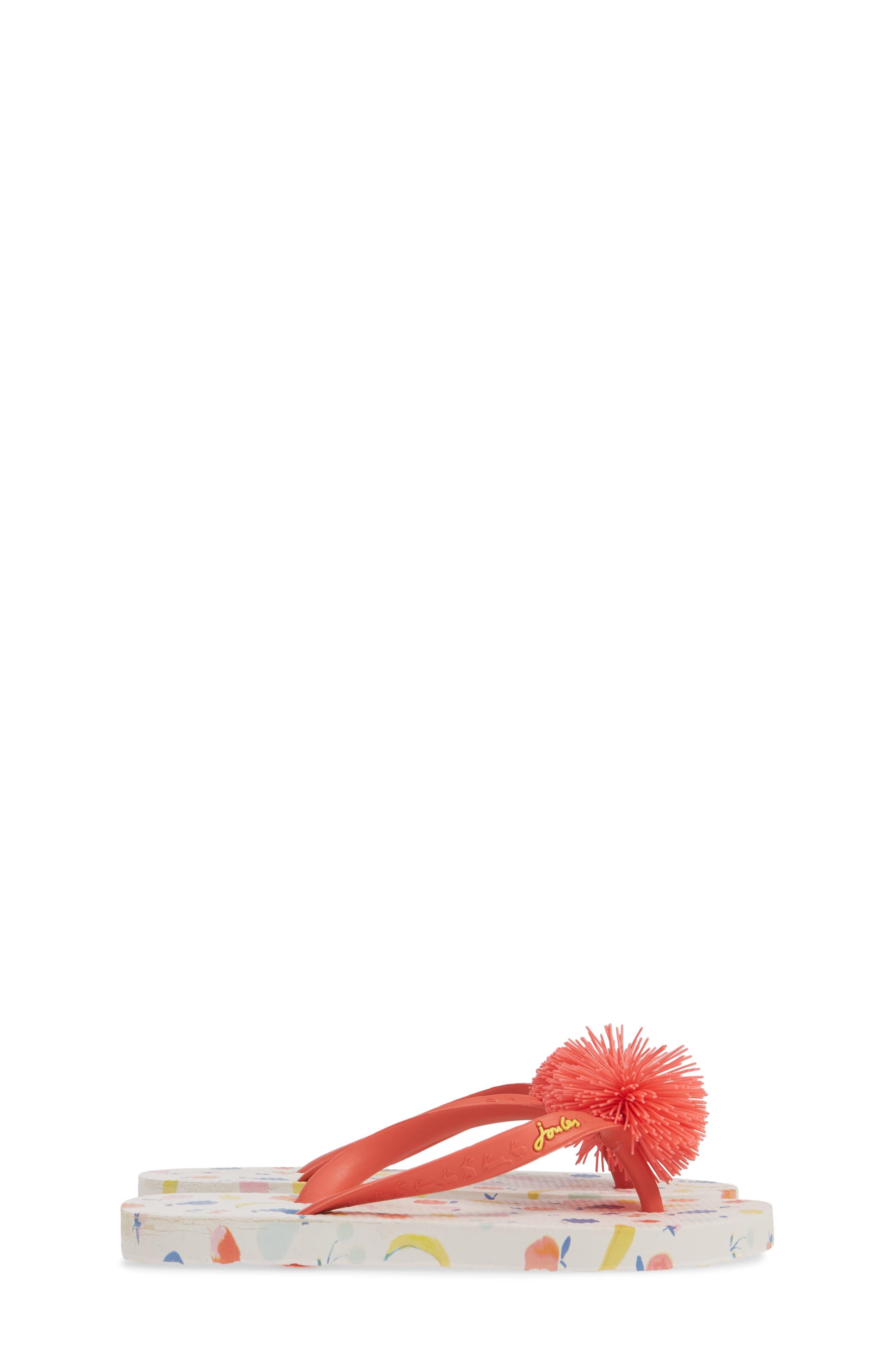 JOULES, Embellished Flip Flop, Alternate thumbnail 4, color, WHITE PETALS