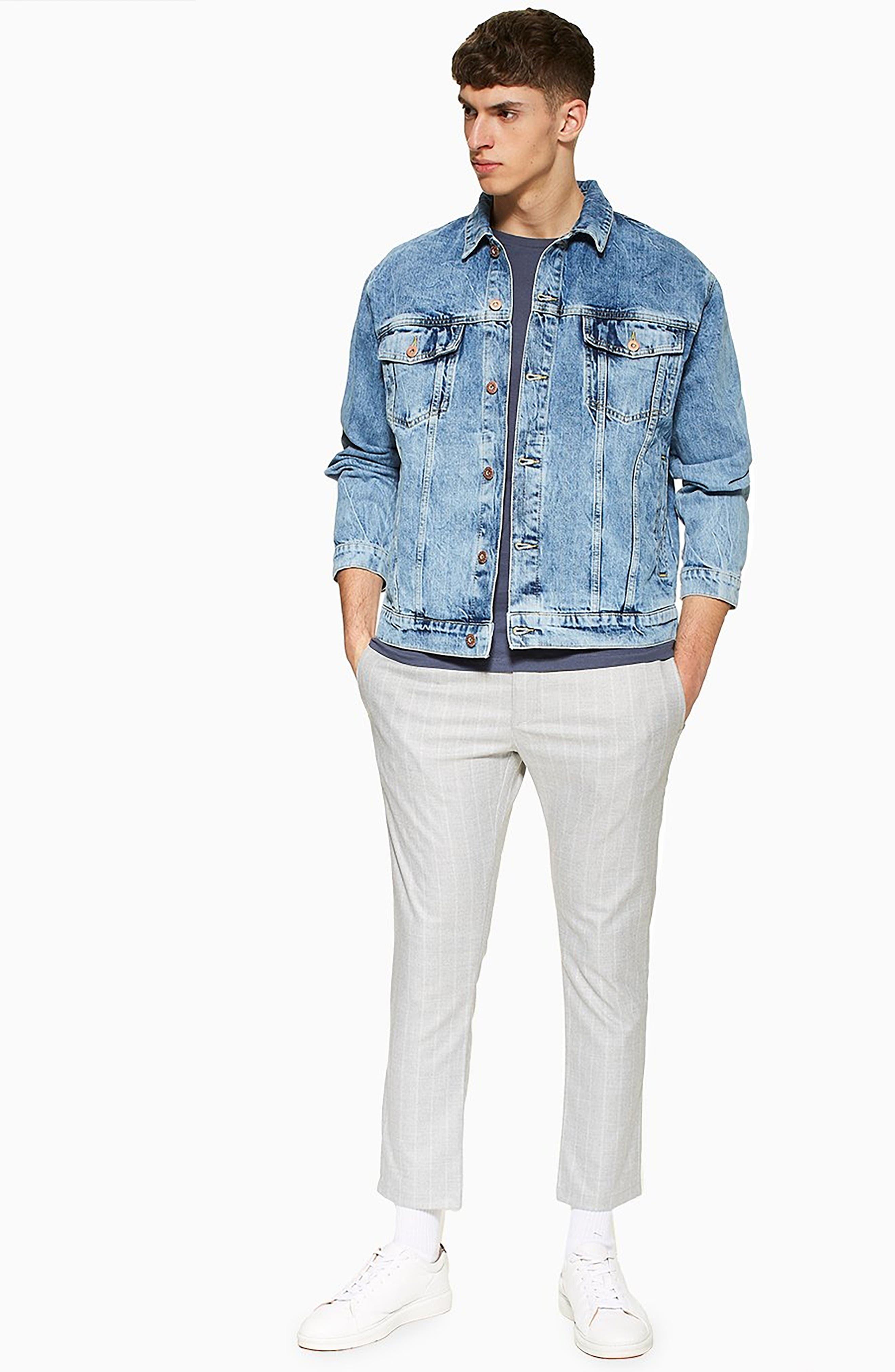 TOPMAN, Skinny Fit Stripe Crop Trousers, Alternate thumbnail 6, color, GREY