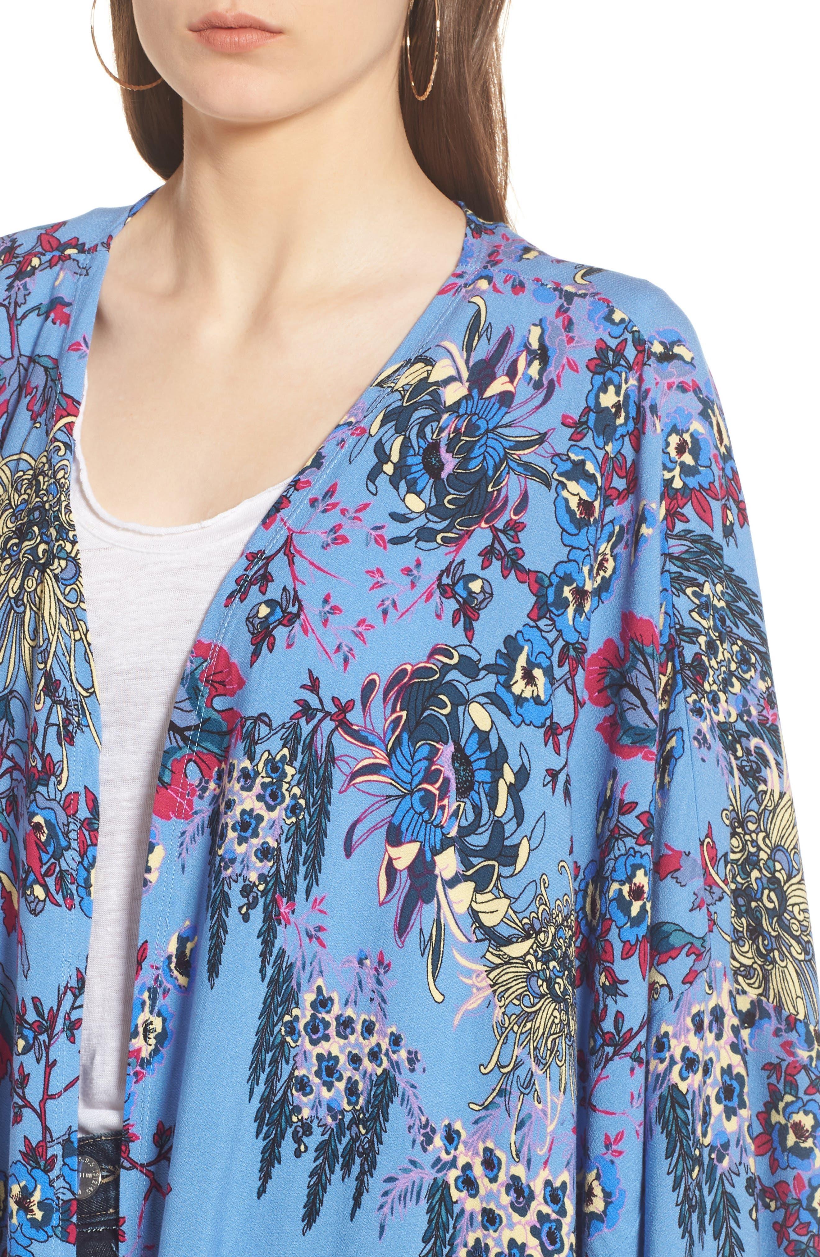 FREE PEOPLE, Dont Know Kimono, Alternate thumbnail 4, color, BLUE COMBO