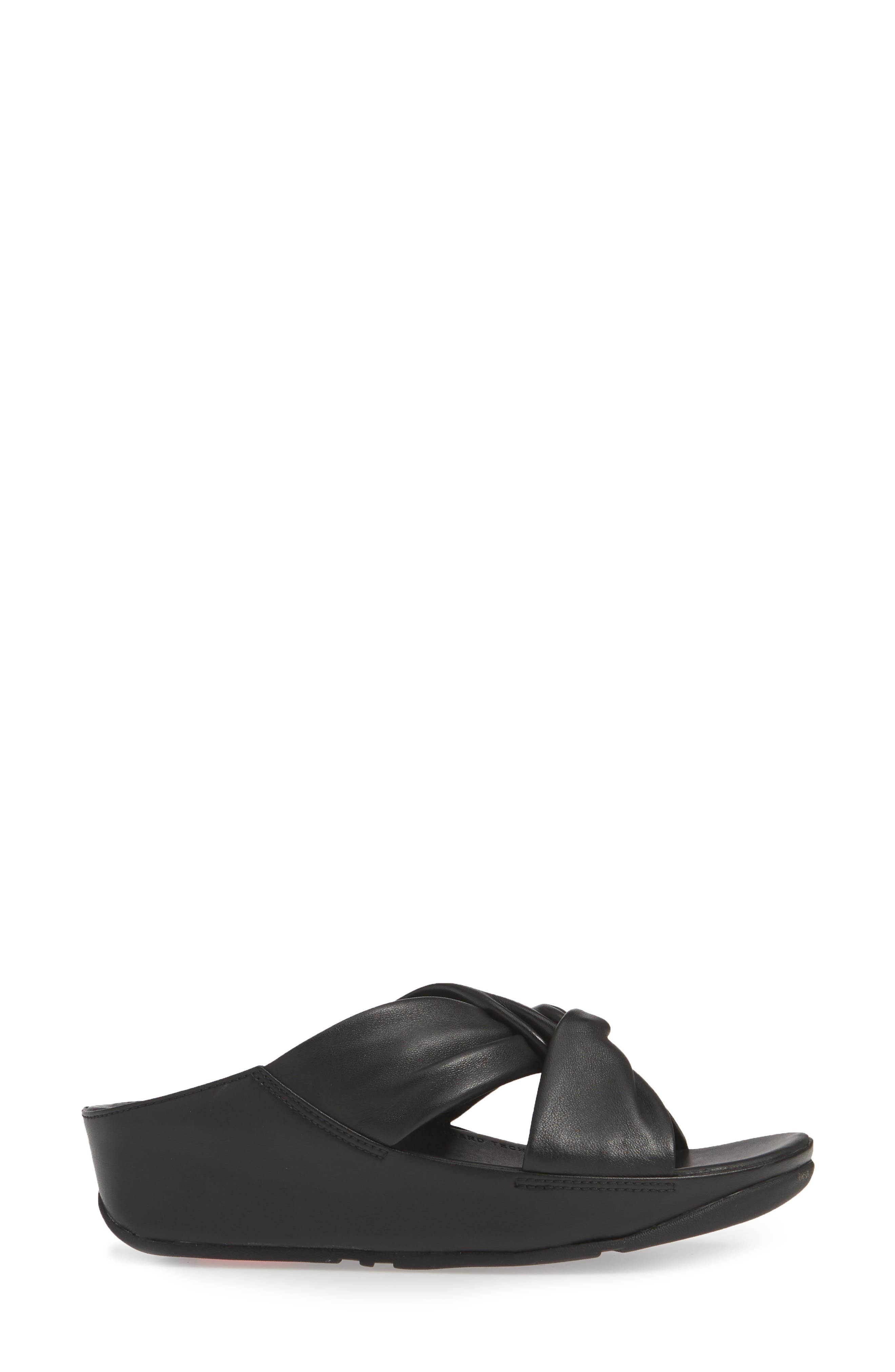 FITFLOP, Twiss Slide Sandal, Alternate thumbnail 3, color, BLACK LEATHER