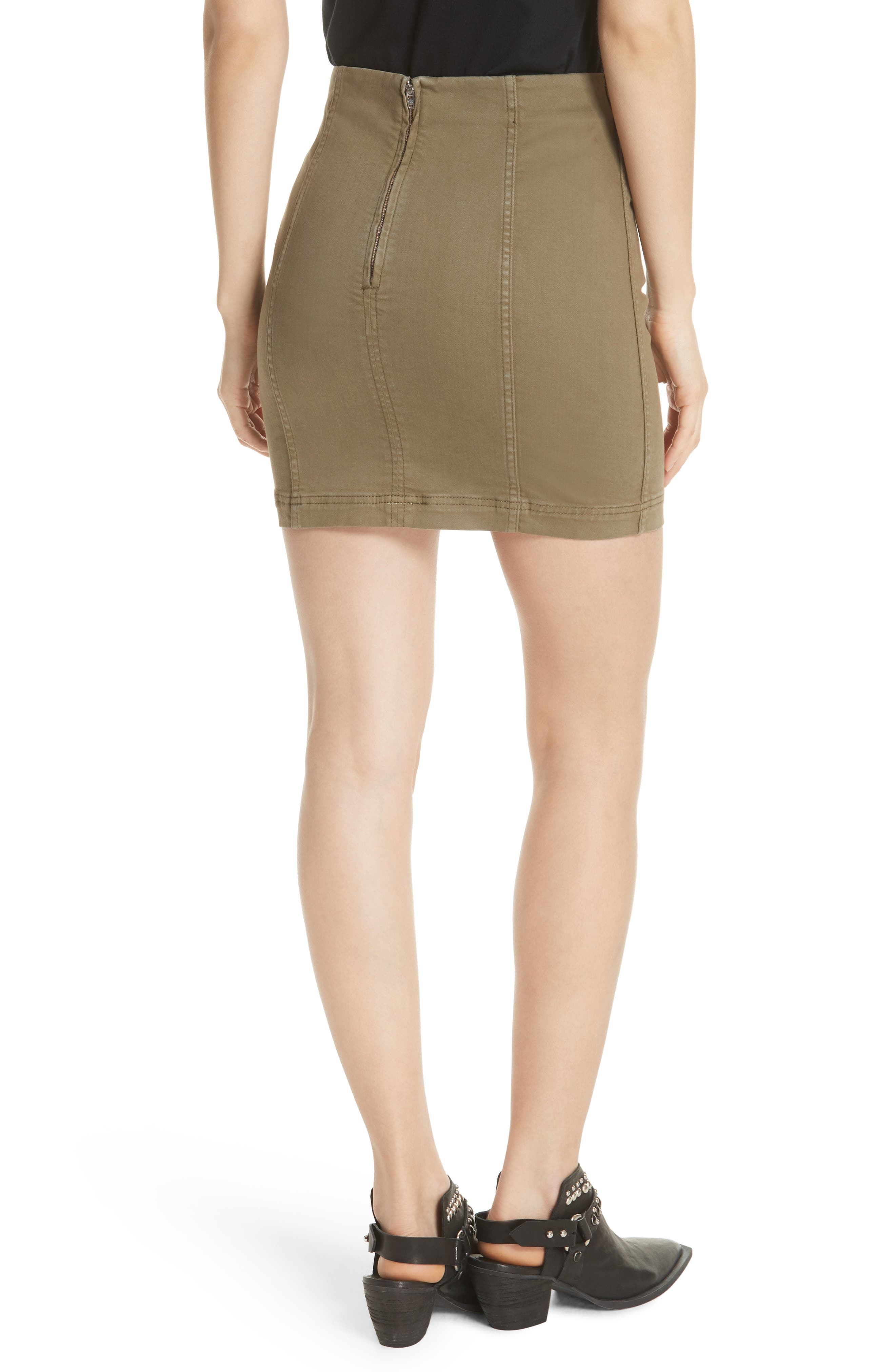 FREE PEOPLE, We the Free by Free People Modern Miniskirt, Alternate thumbnail 2, color, ARMY