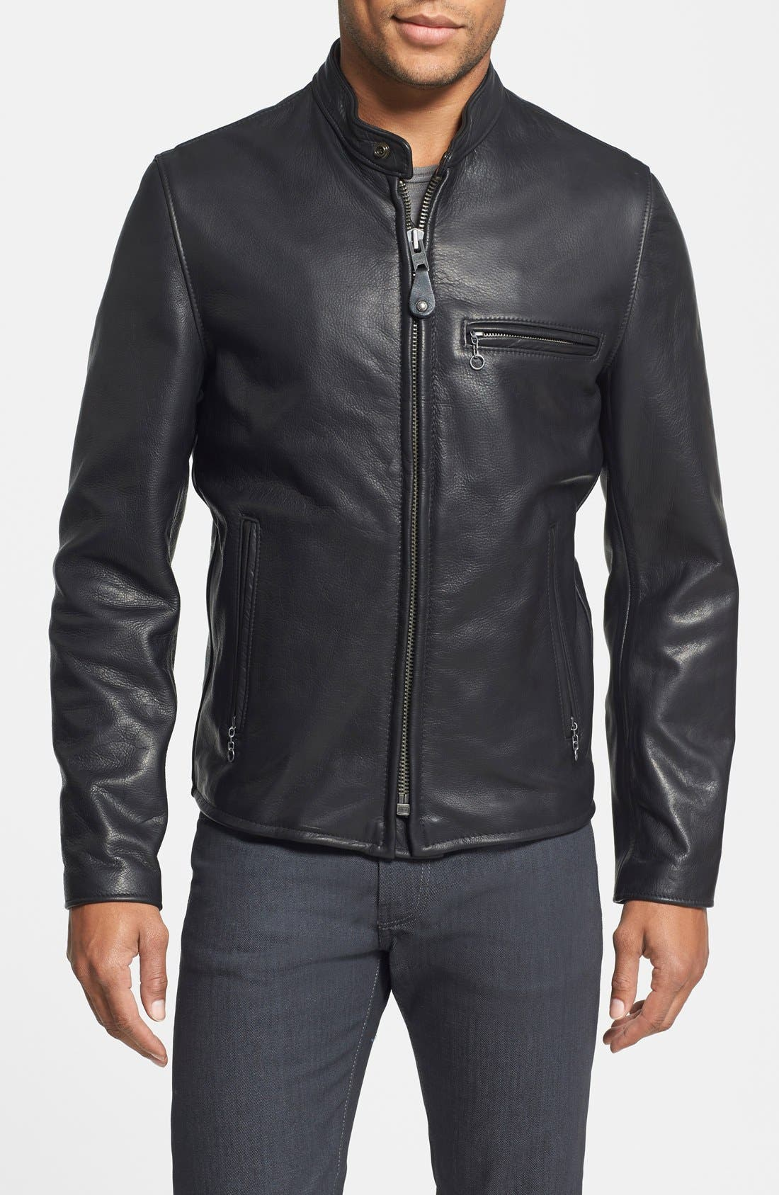 SCHOTT NYC, Café Racer Oil Tanned Cowhide Leather Moto Jacket, Main thumbnail 1, color, BLACK
