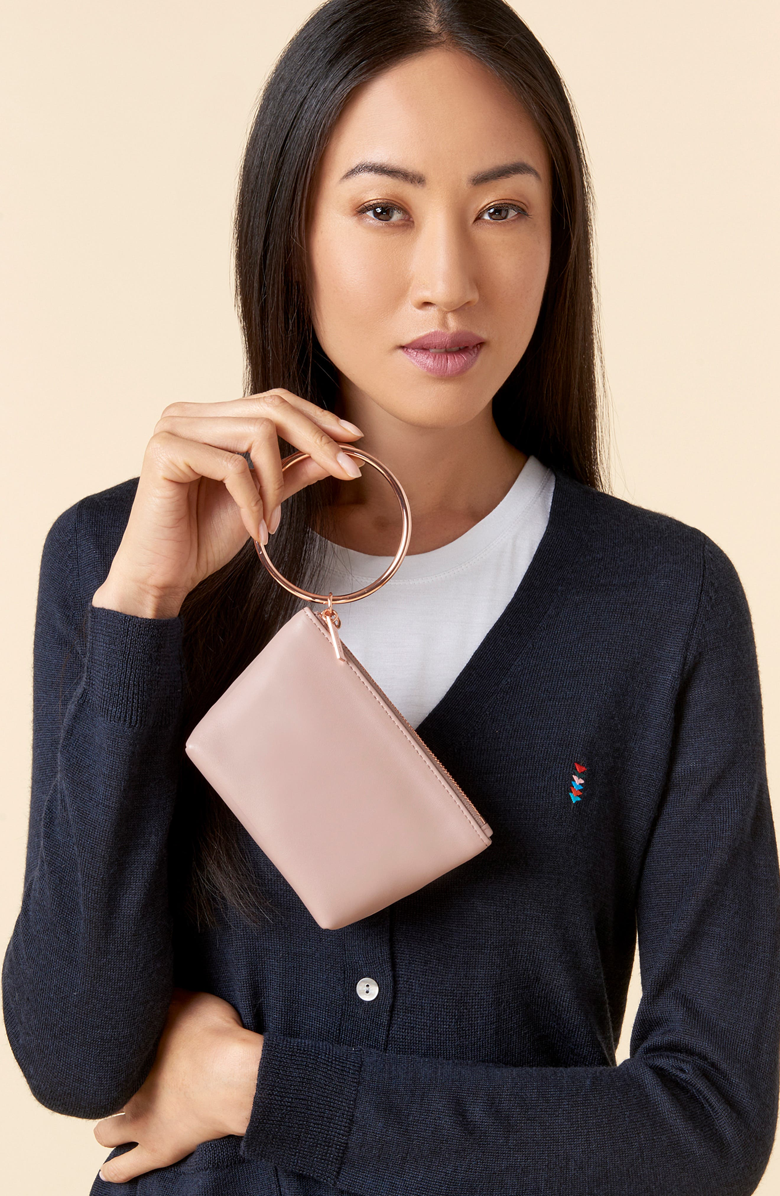 THACKER, Small Ring Leather Pouch, Alternate thumbnail 2, color, SANDSTONE/ ROSEGOLD
