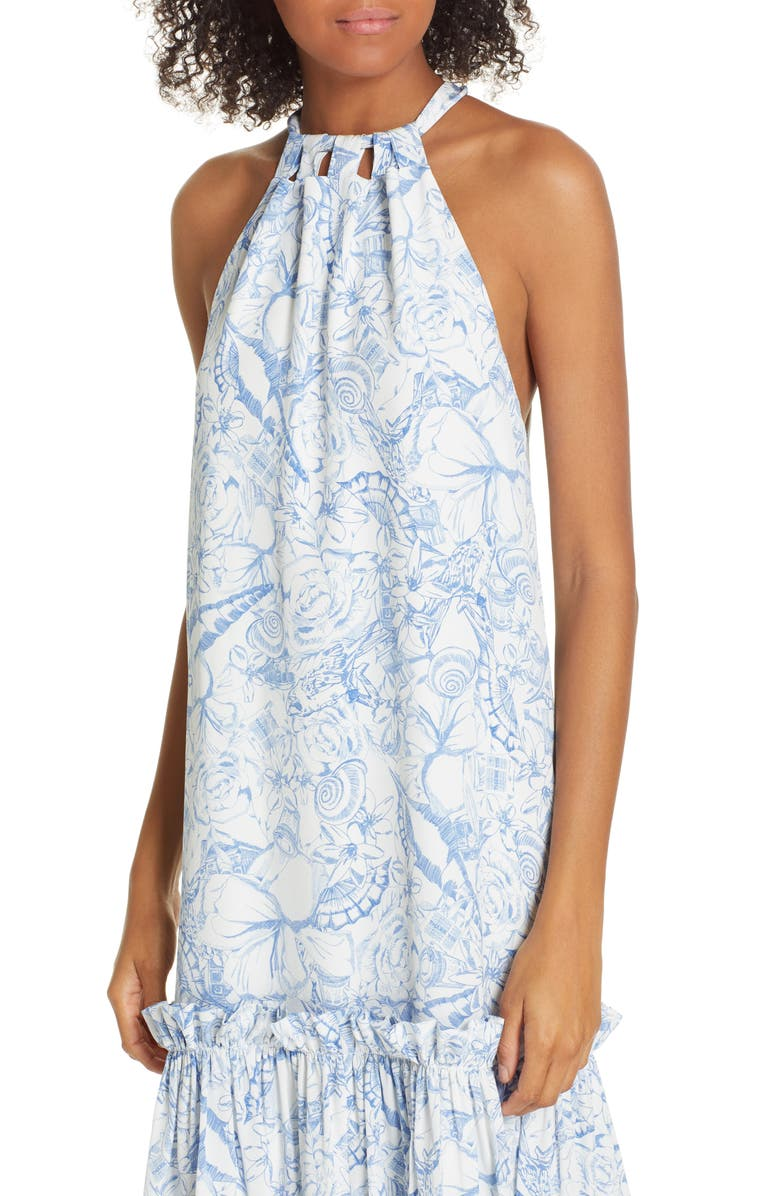 7db8d9b0559 Tibi Isa Toile Print Silk Midi Dress In Blue