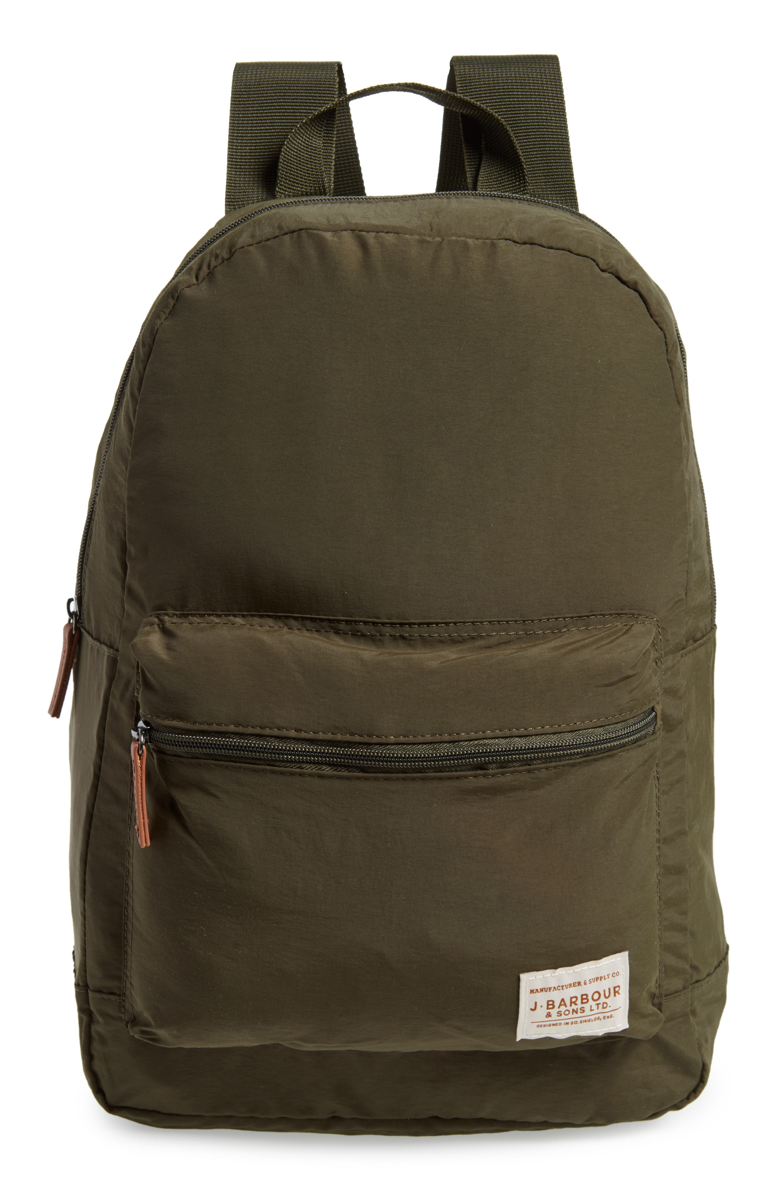 BARBOUR Beauly Packable Backpack, Main, color, DARK GREEN