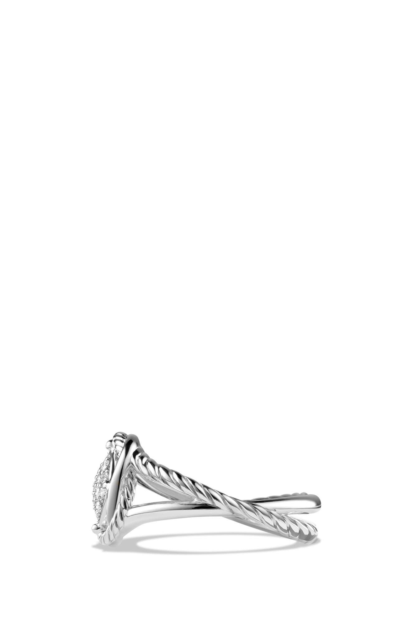 DAVID YURMAN, 'Infinity' Ring with Diamonds, Alternate thumbnail 3, color, DIAMOND