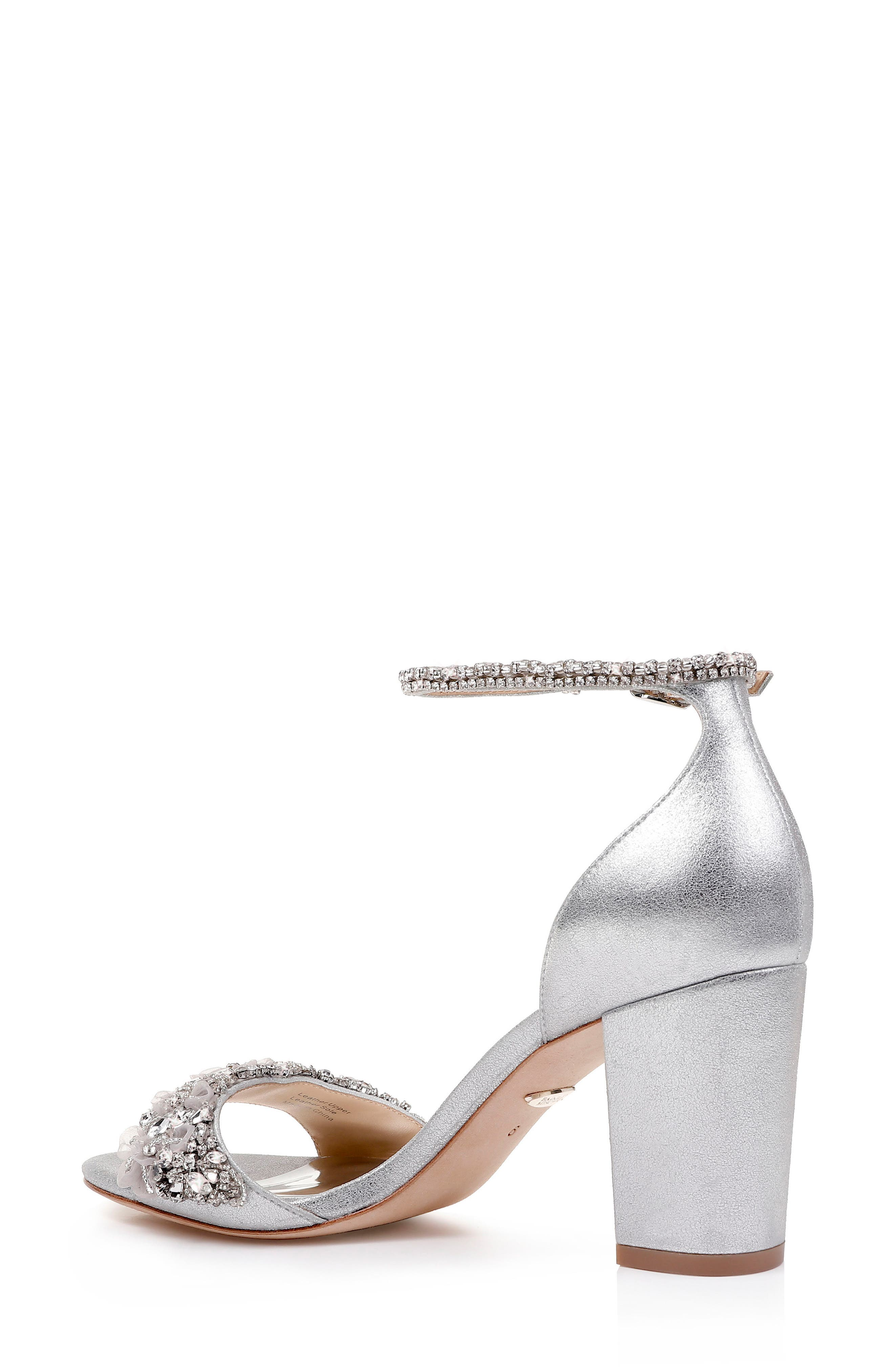 BADGLEY MISCHKA COLLECTION, Badgley Mischka Finesse Embellished Ankle Strap Sandal, Alternate thumbnail 2, color, SILVER METALLIC SATIN