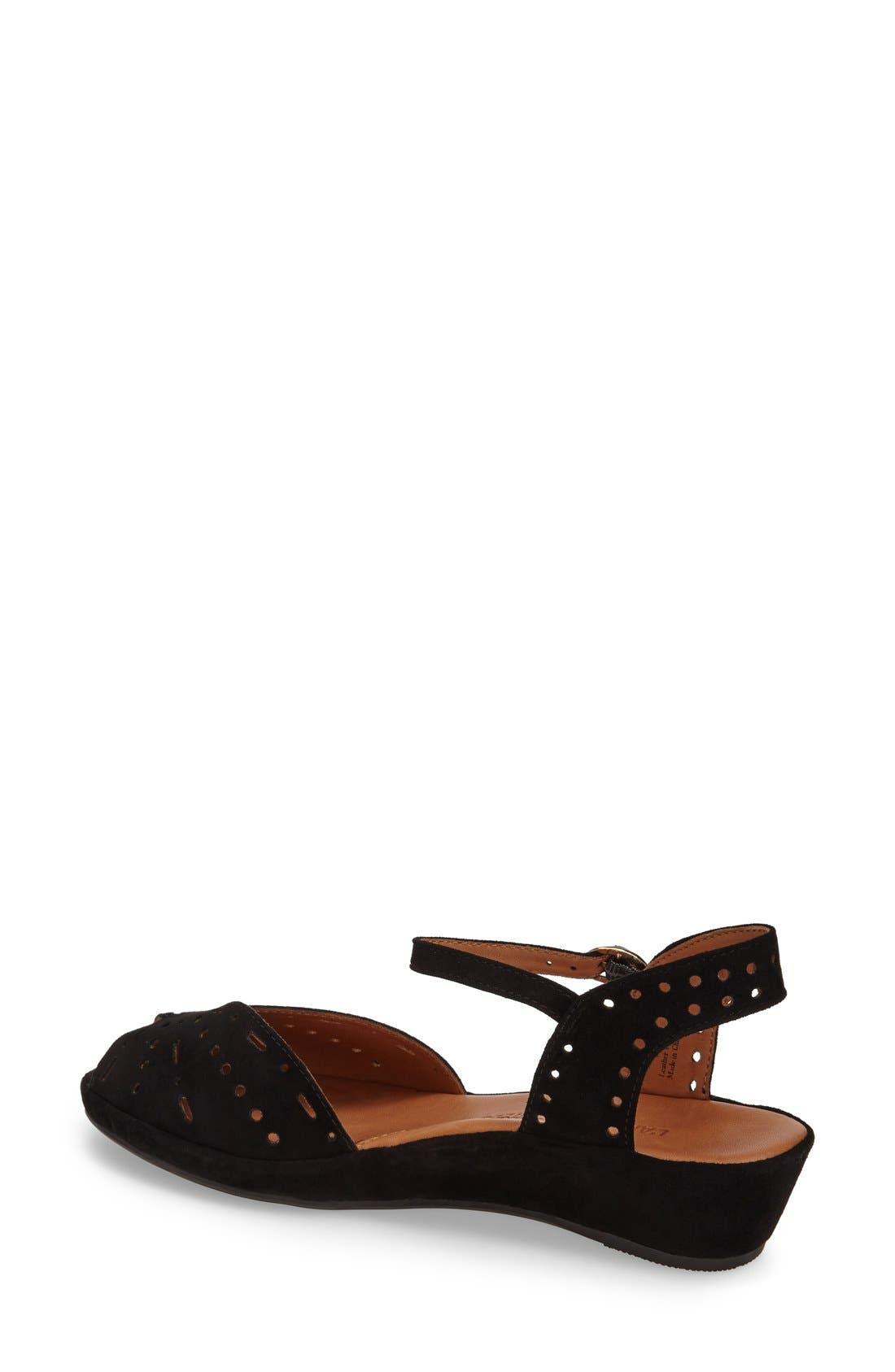L'AMOUR DES PIEDS, 'Brenn' Ankle Strap Sandal, Alternate thumbnail 7, color, BLACK SUEDE