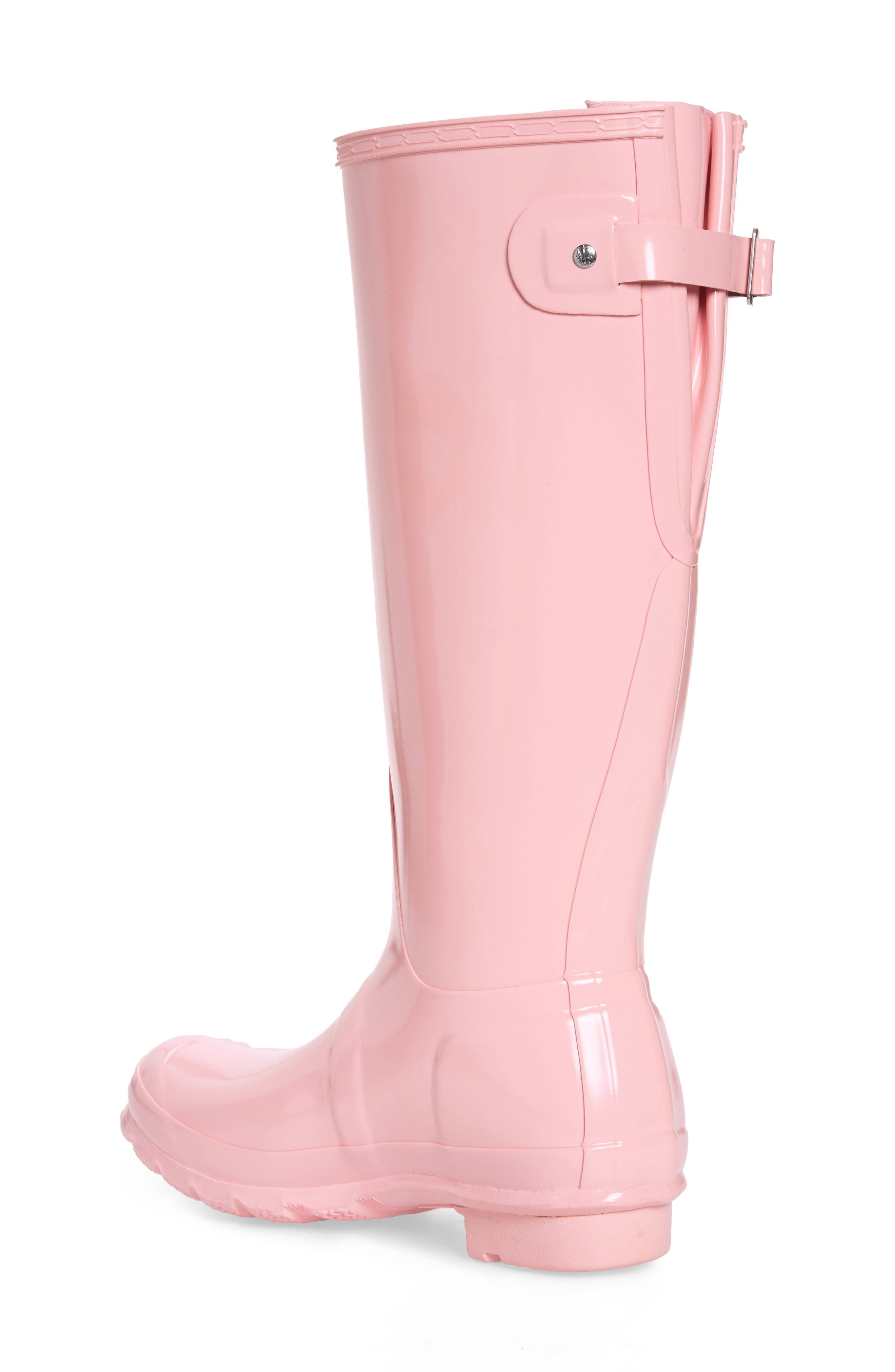 HUNTER, Adjustable Back Gloss Waterproof Rain Boot, Alternate thumbnail 2, color, CANDY FLOSS RUBBER