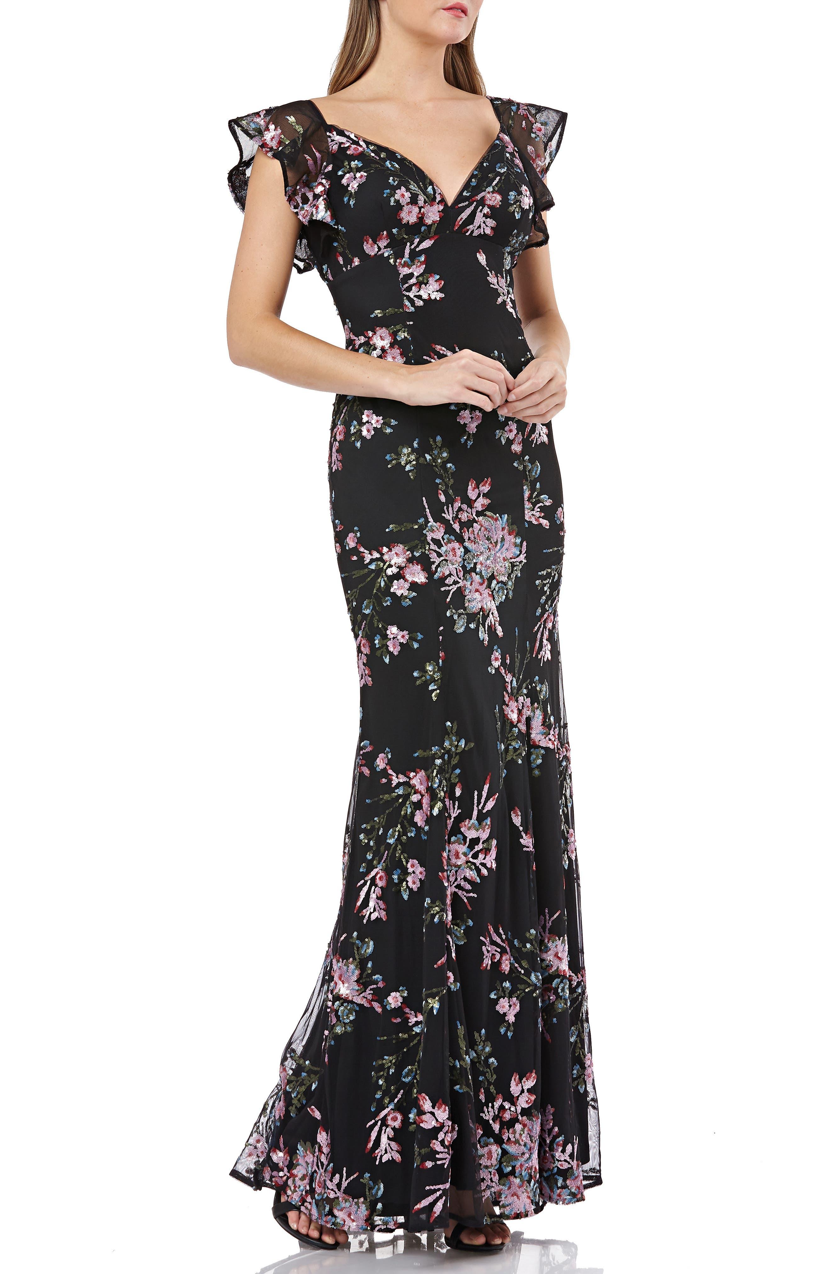 Carmen Marc Valvo Infusion Sequin Evening Dress, Black