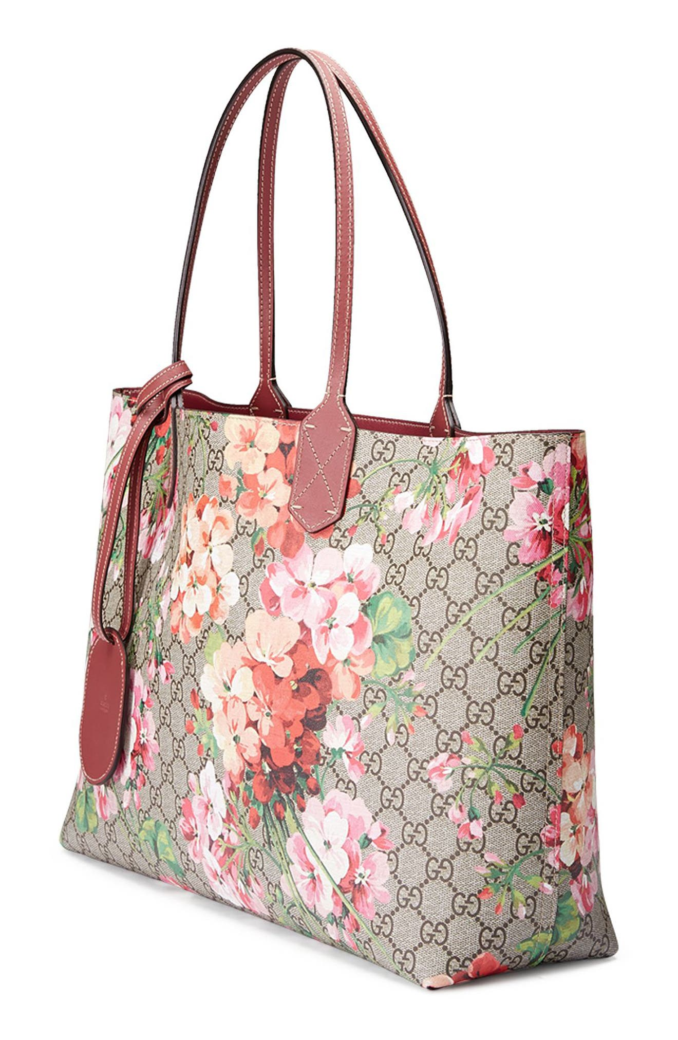 GUCCI, Medium GG Blooms Reversible Canvas & Leather Tote, Alternate thumbnail 3, color, 291