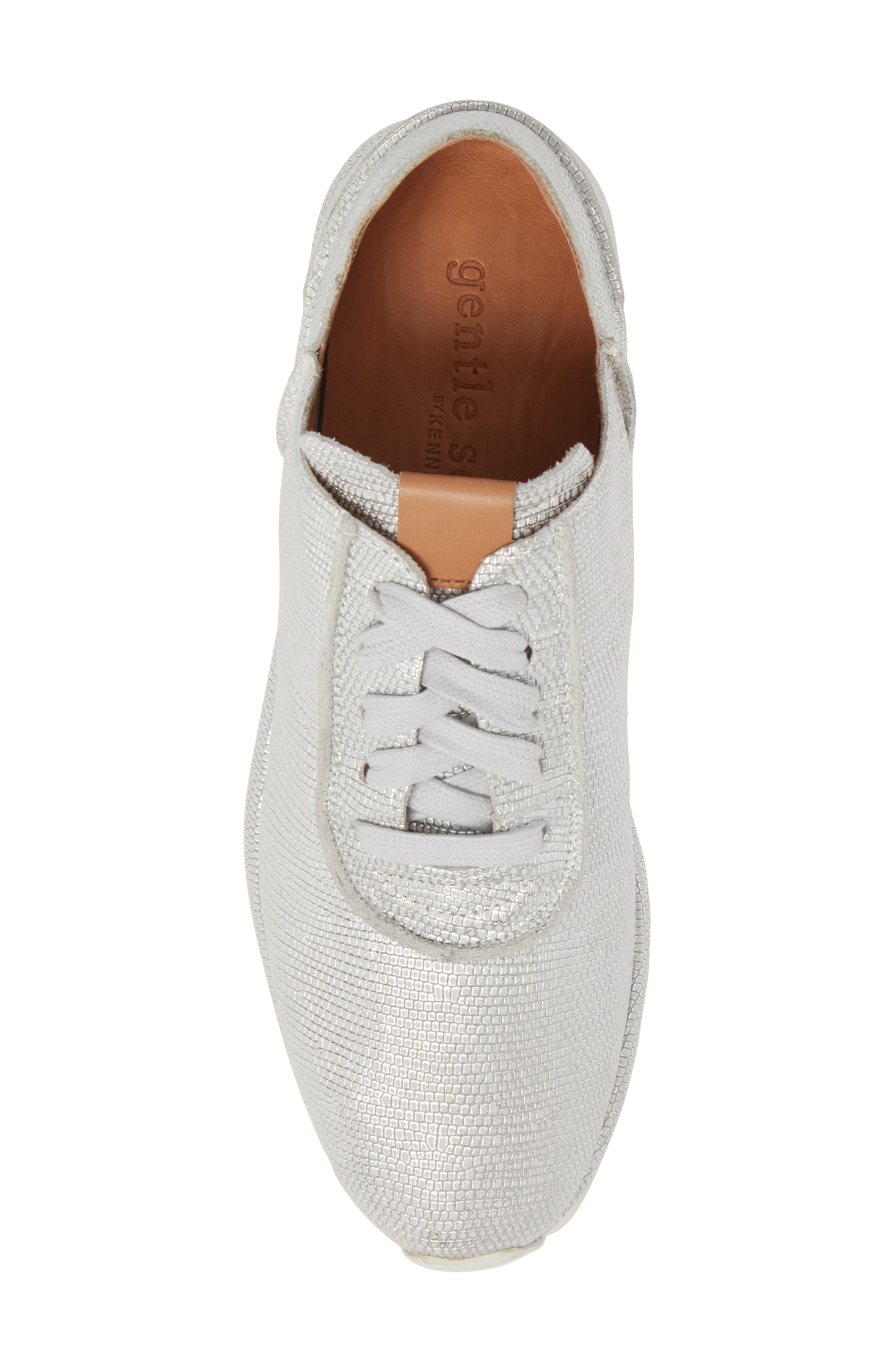 GENTLE SOULS BY KENNETH COLE, Raina Sneaker, Alternate thumbnail 5, color, WHITE/ SILVER LEATHER
