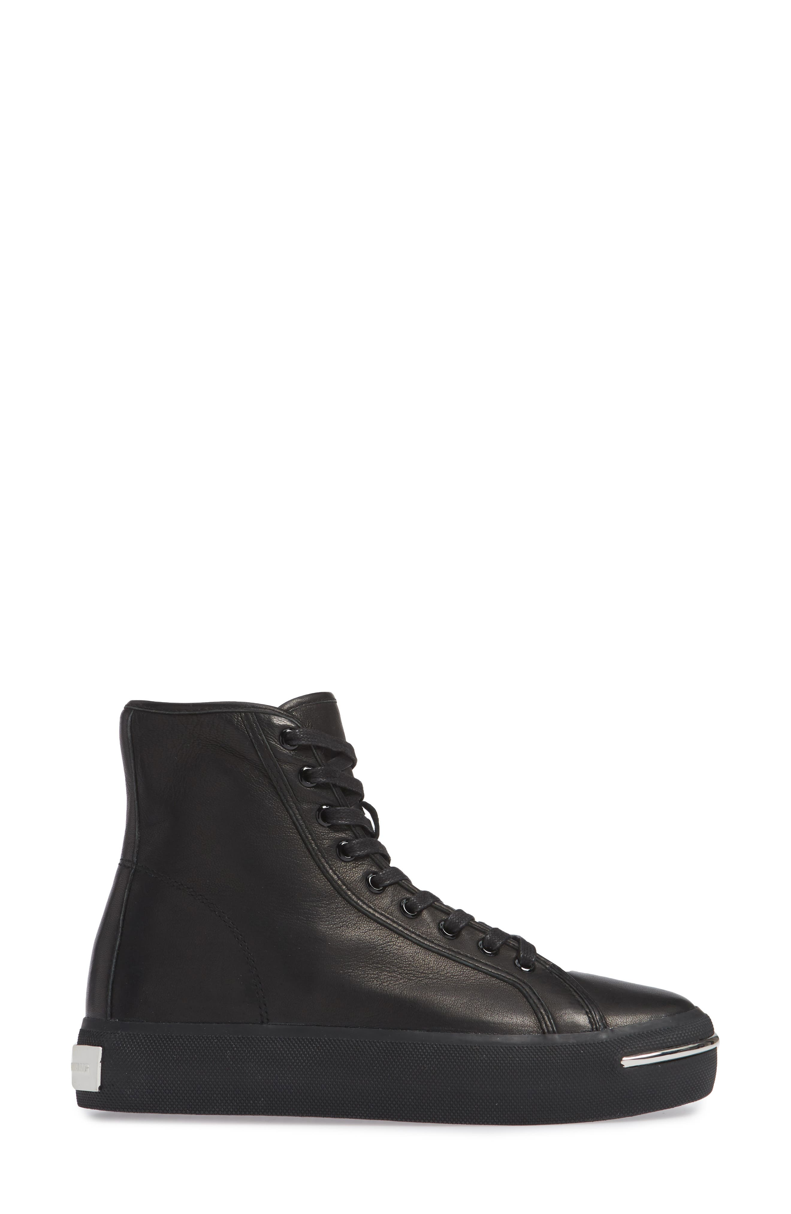 ALEXANDER WANG, Pia High Top Sneaker, Alternate thumbnail 3, color, BLACK