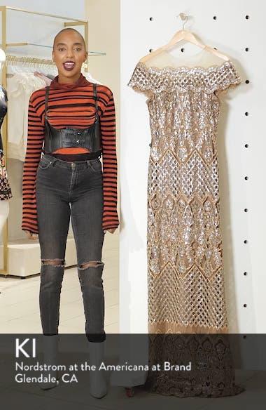 Illusion Neck Sequin Lace Evening Dress, sales video thumbnail