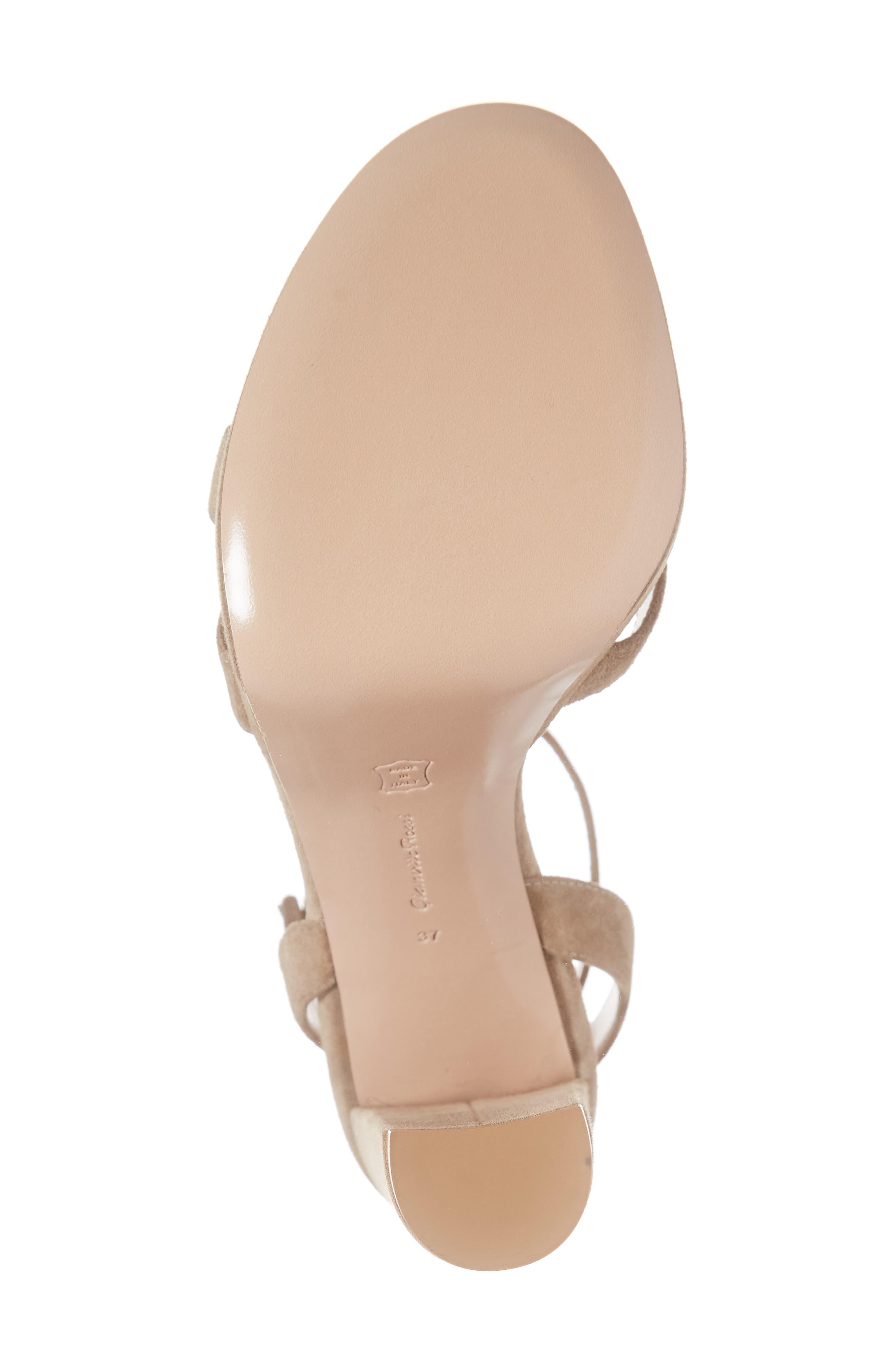 GIANVITO ROSSI, Ankle Strap Platform Sandal, Alternate thumbnail 6, color, CAMEL SUEDE