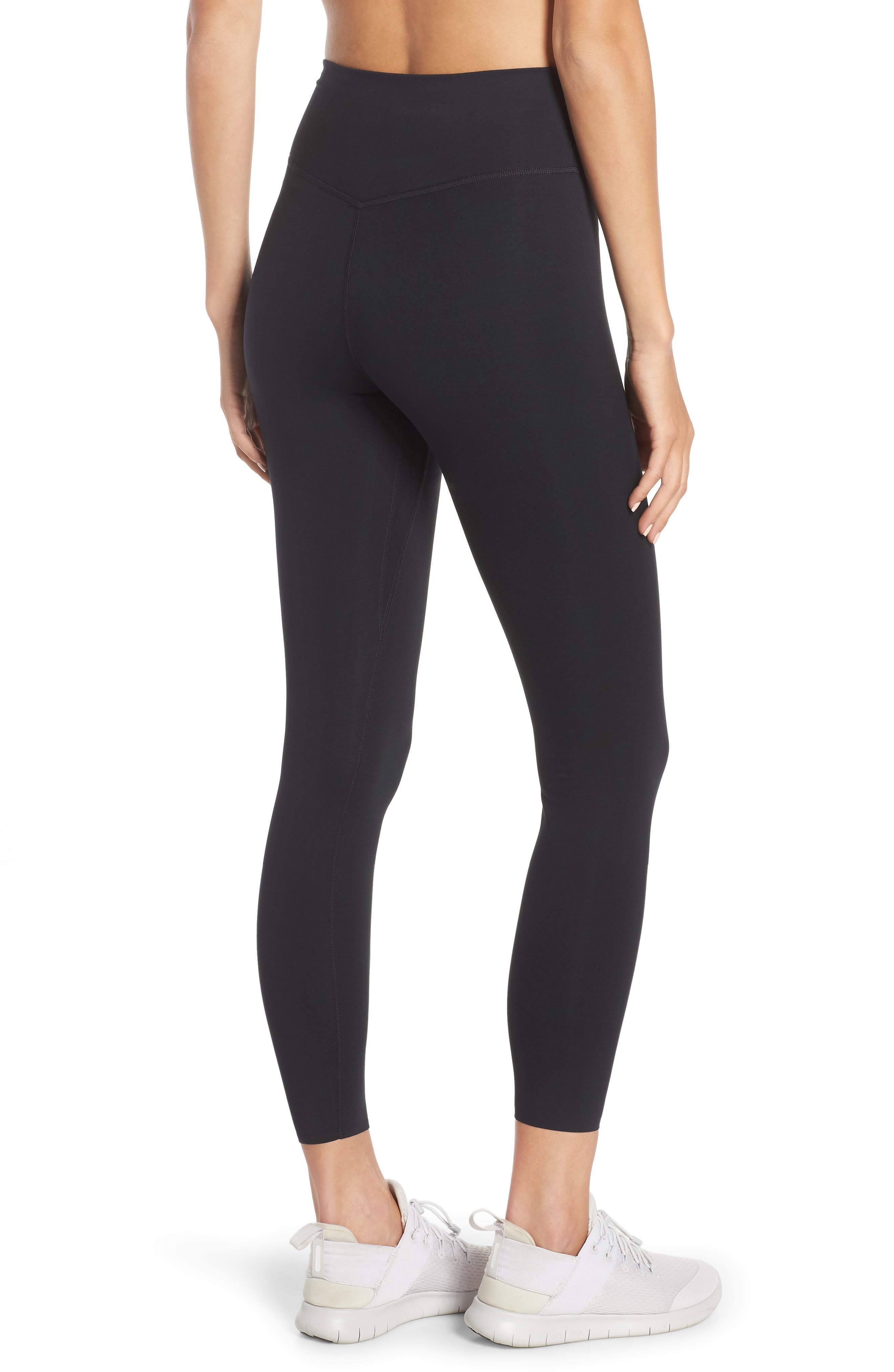 NIKE, One Lux Ankle Tights, Alternate thumbnail 2, color, BLACK/ CLEAR