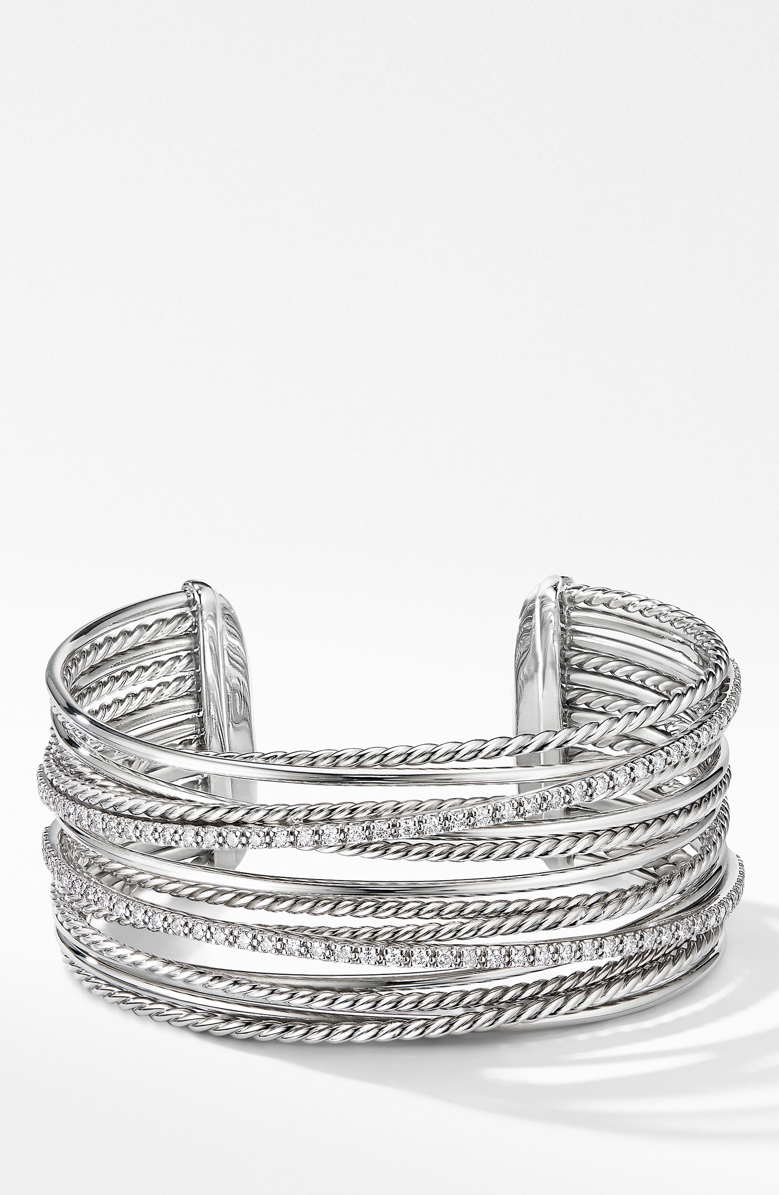 DAVID YURMAN, Crossover Cuff Bracelet with Diamonds, Main thumbnail 1, color, SILVER/ DIAMOND