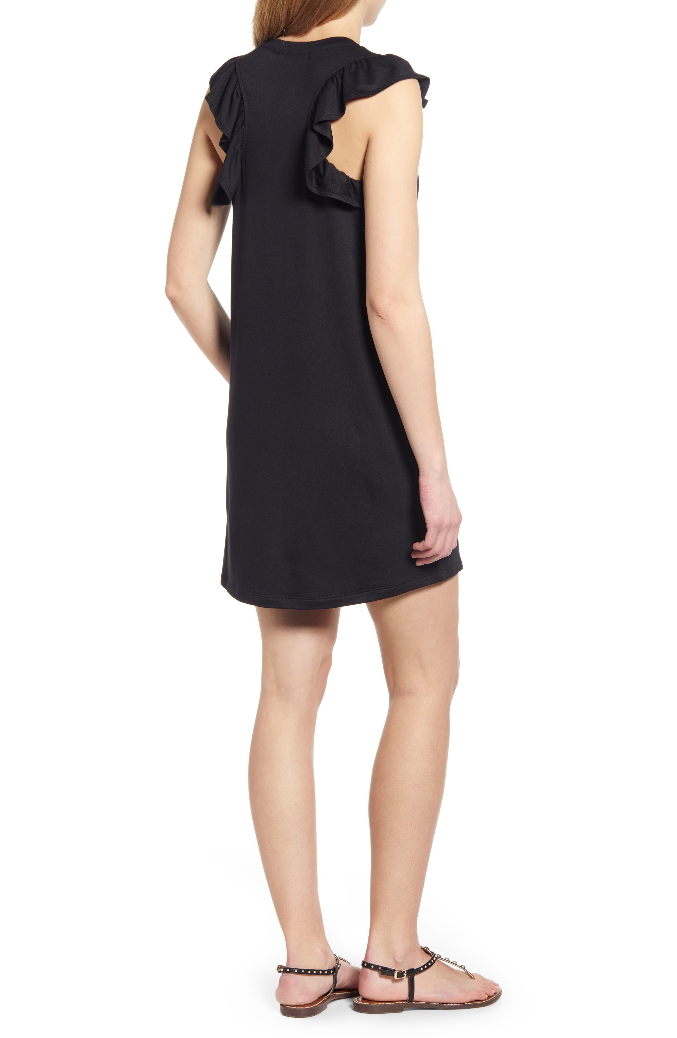 GIBSON, x Hi Sugarplum! Laguna Soft Jersey Ruffle Back T-Shirt Dress, Alternate thumbnail 2, color, BLACK