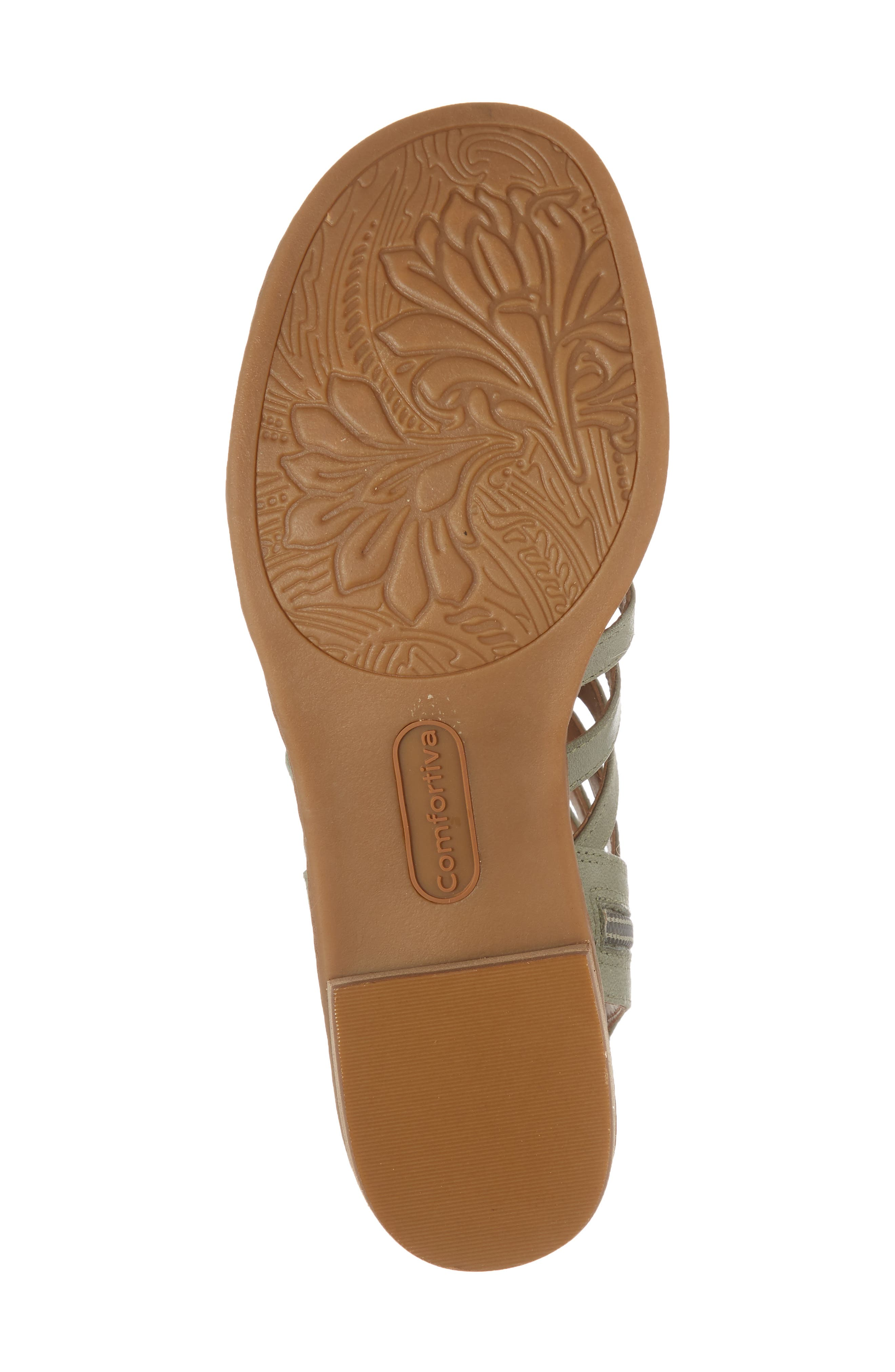 COMFORTIVA, Blossom Sandal, Alternate thumbnail 6, color, SAGE LEATHER
