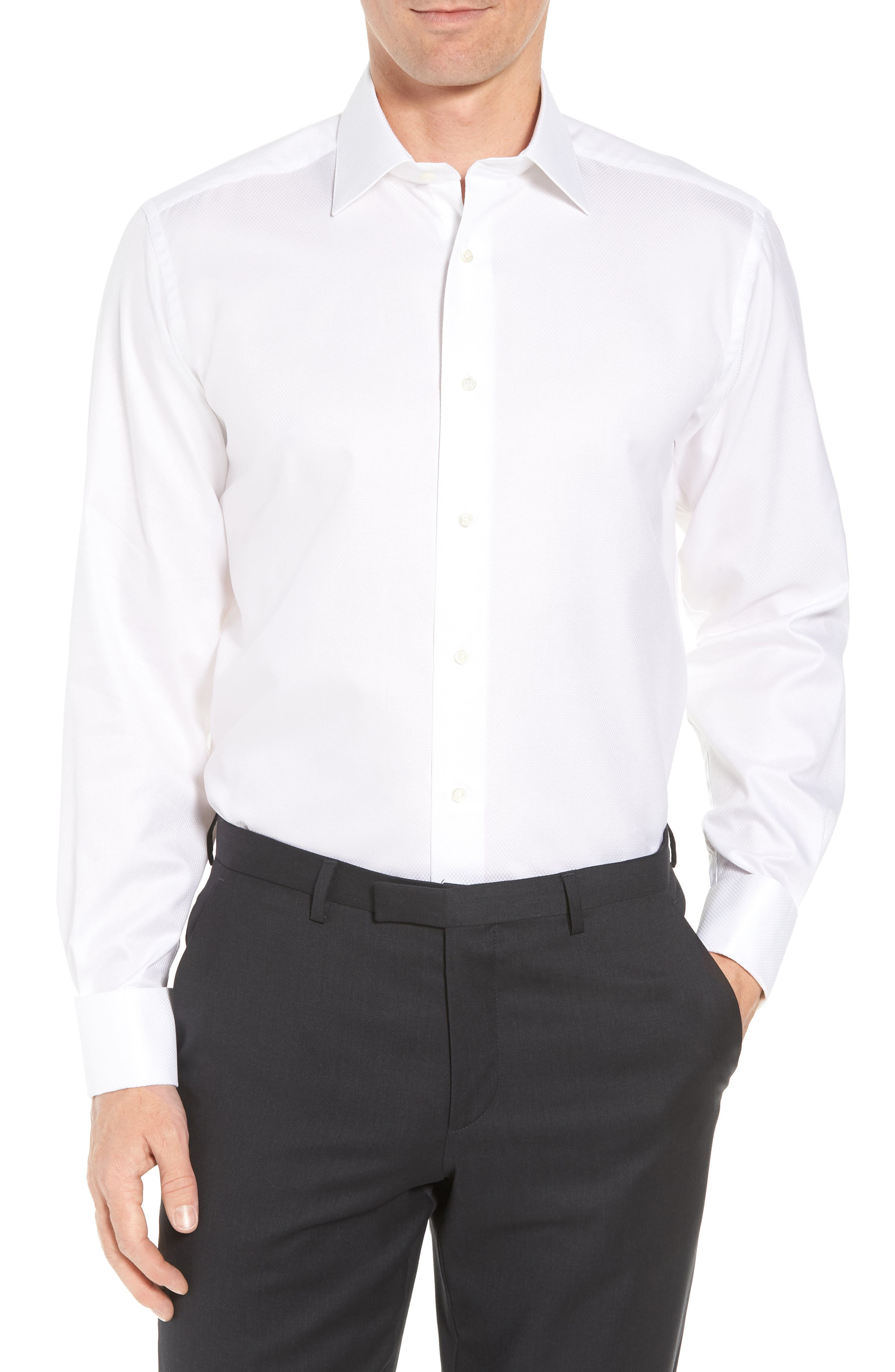 DAVID DONAHUE, Regular Fit Solid French Cuff Tuxedo Shirt, Main thumbnail 1, color, WHITE / WHITE