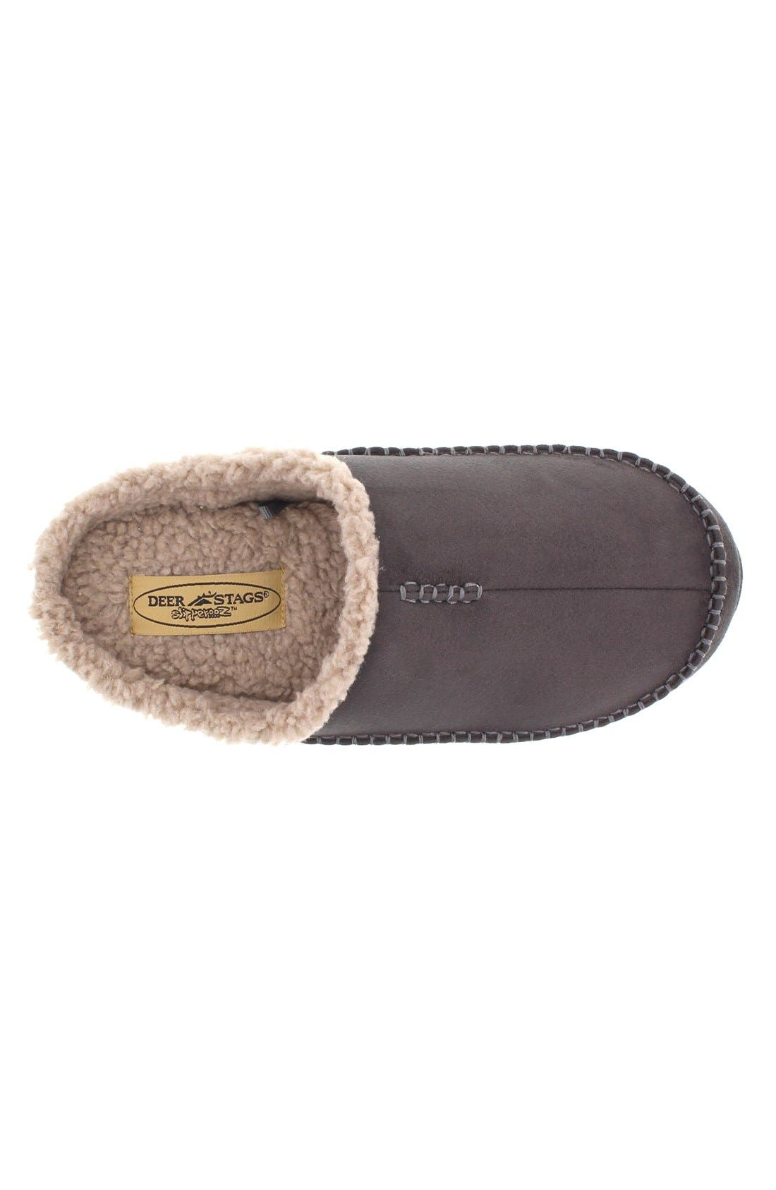 DEER STAGS, 'Nordic' Slipper, Alternate thumbnail 6, color, DARK GREY