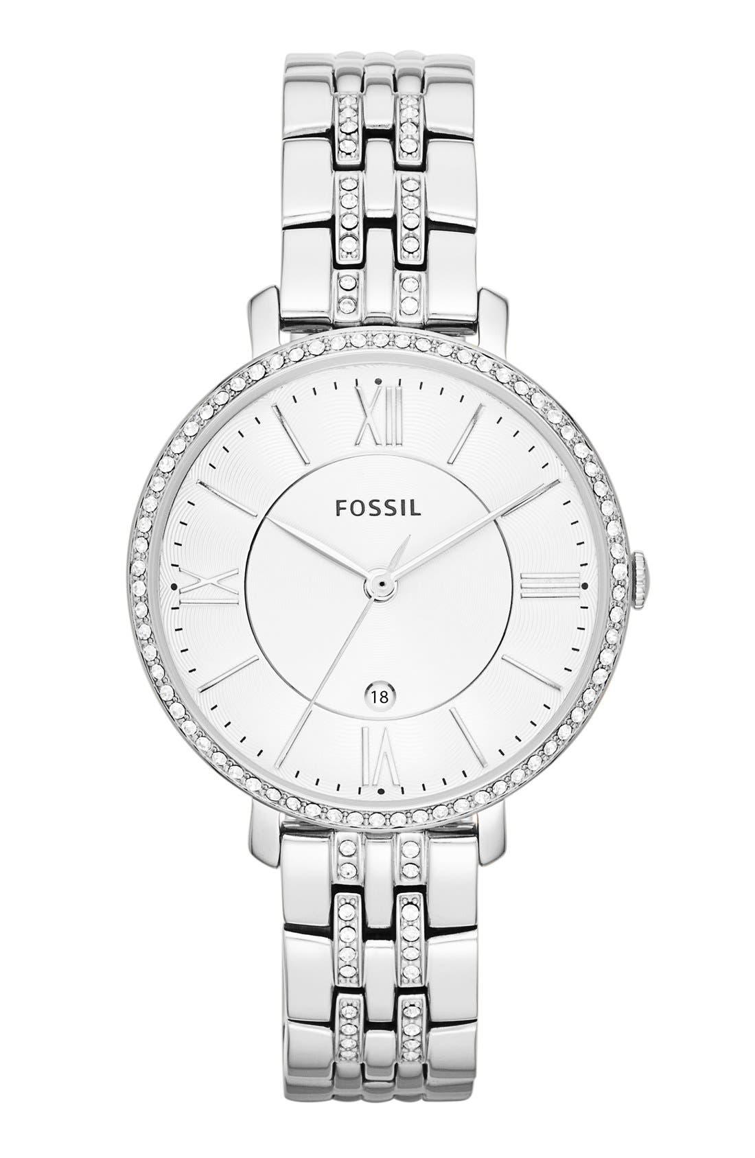 FOSSIL, 'Jacqueline' Crystal Bezel Bracelet Watch, 36mm, Main thumbnail 1, color, SILVER