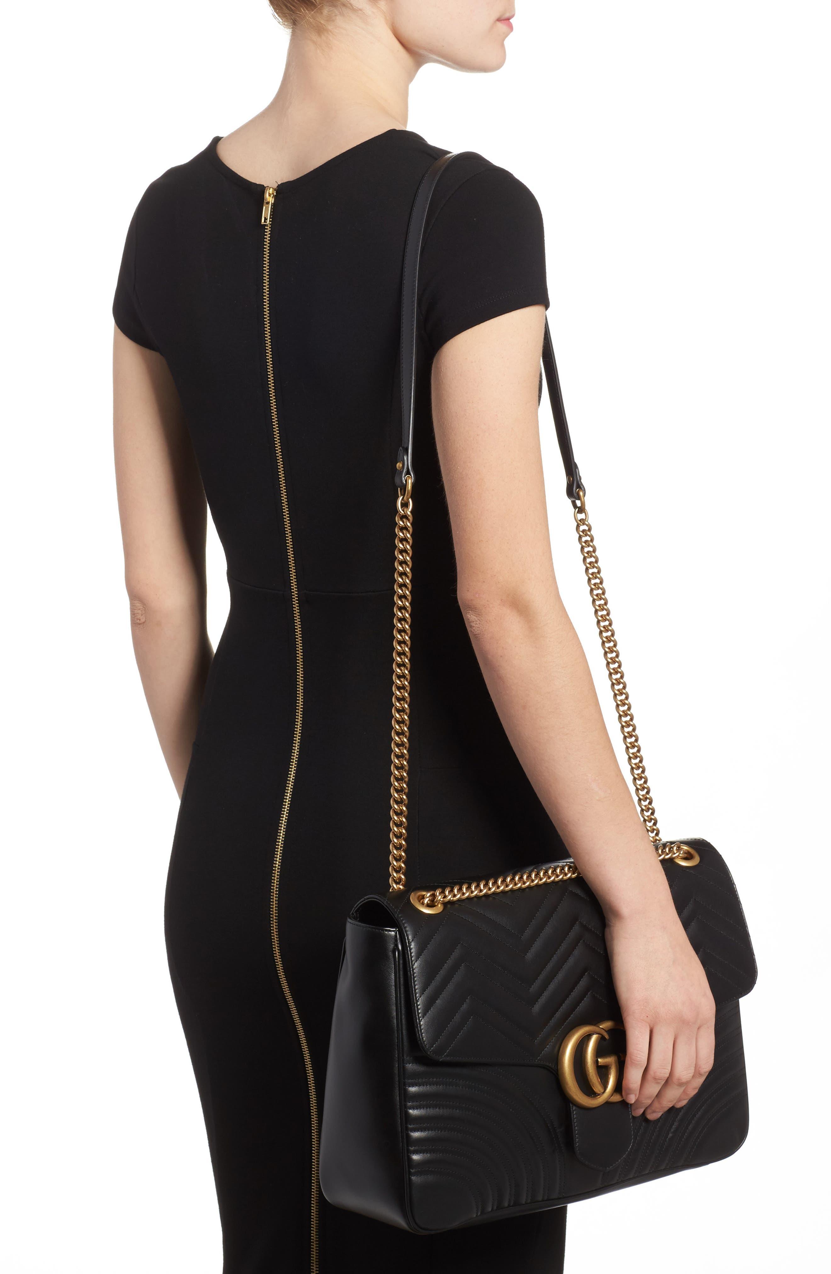 GUCCI, GG Large Marmont 2.0 Matelassé Leather Shoulder Bag, Alternate thumbnail 2, color, NERO