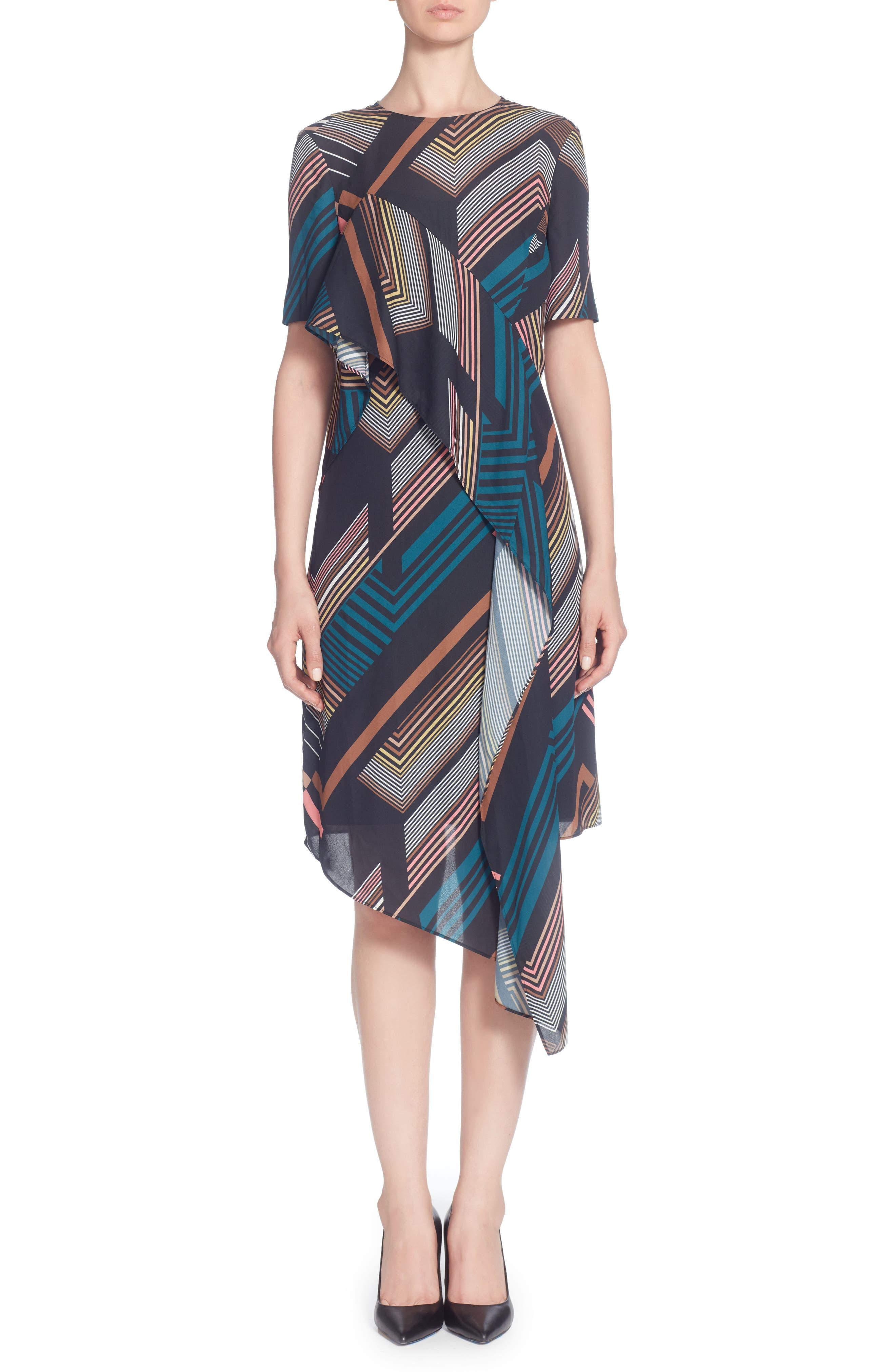 CATHERINE CATHERINE MALANDRINO, Lill Asymmetrical Hem Dress, Main thumbnail 1, color, 001