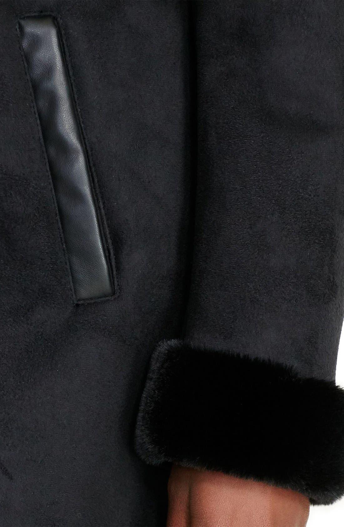 LAUREN RALPH LAUREN, Faux Shearling Coat, Alternate thumbnail 4, color, 001