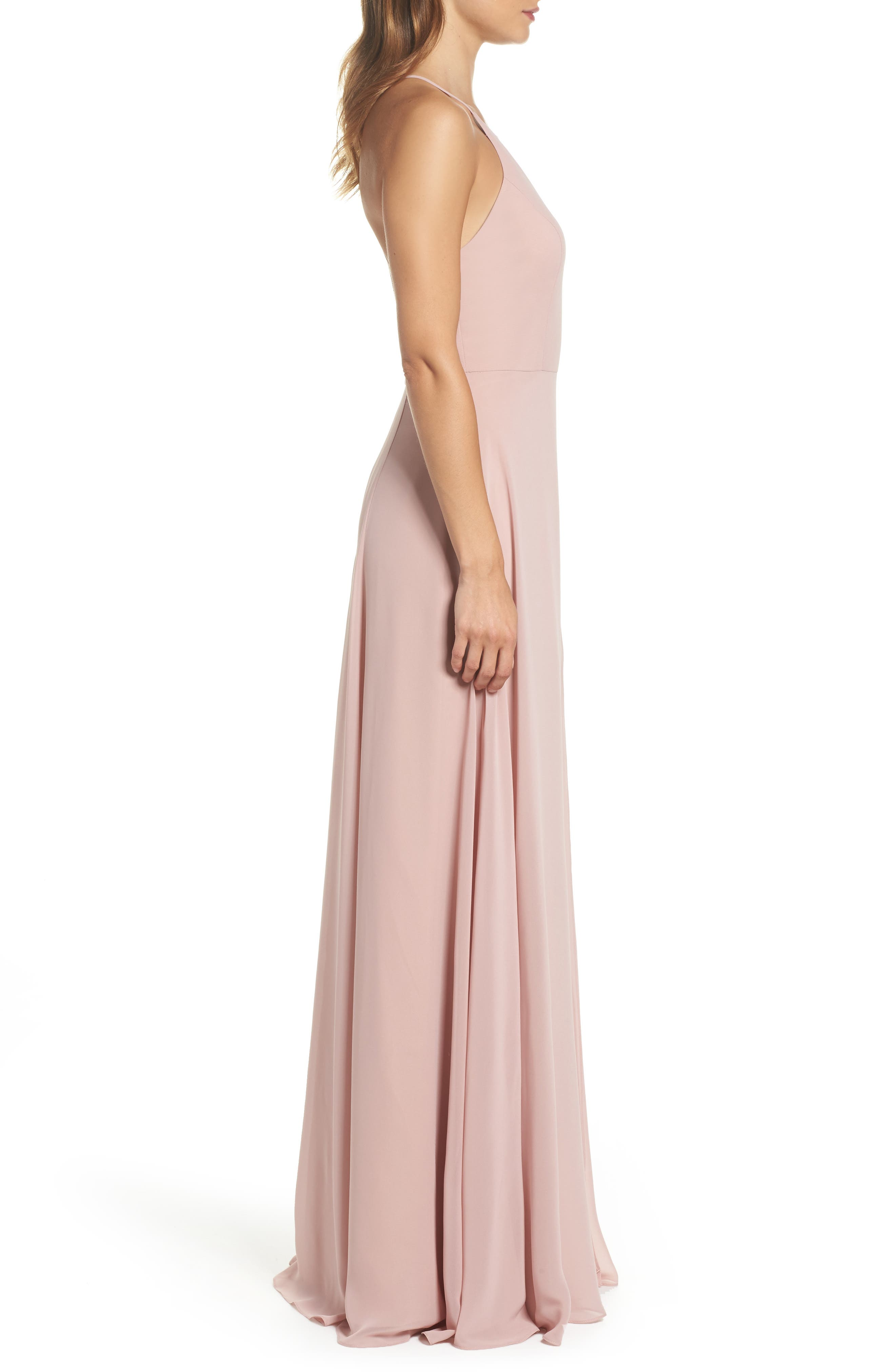 JENNY YOO, Kayla A-Line Halter Gown, Alternate thumbnail 4, color, WHIPPED APRICOT