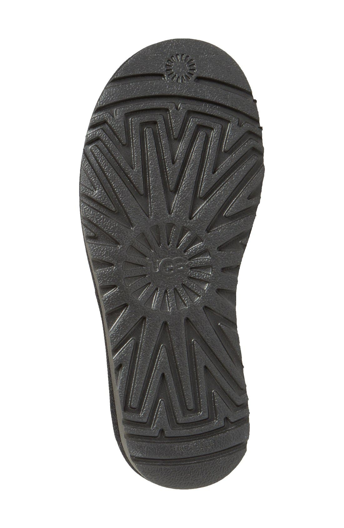 UGG<SUP>®</SUP>, Mini Bailey Button II Genuine Shearling Boot, Alternate thumbnail 4, color, BLACK SUEDE