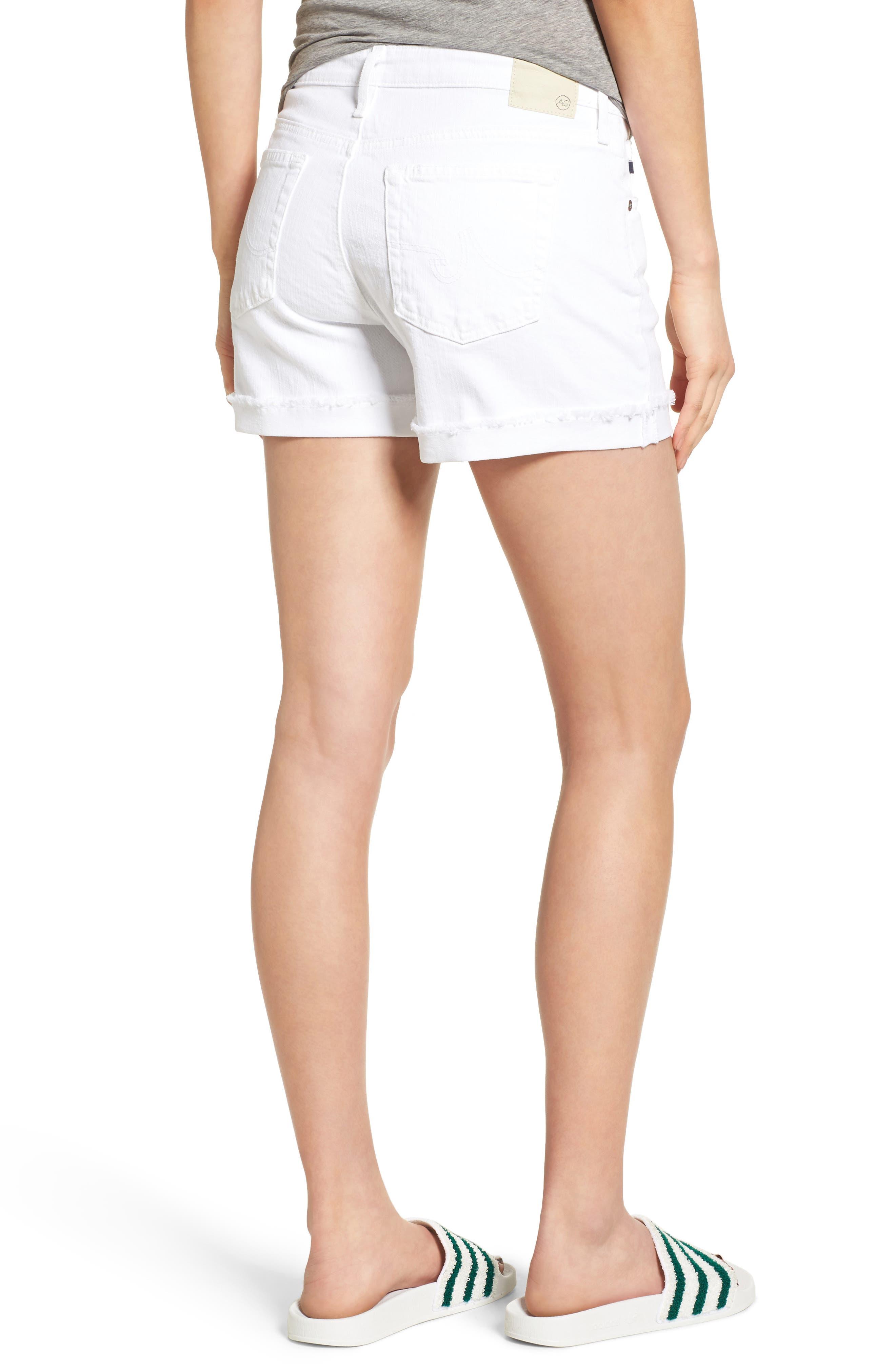 AG, 'Hailey' Boyfriend Shorts, Alternate thumbnail 2, color, WHITE