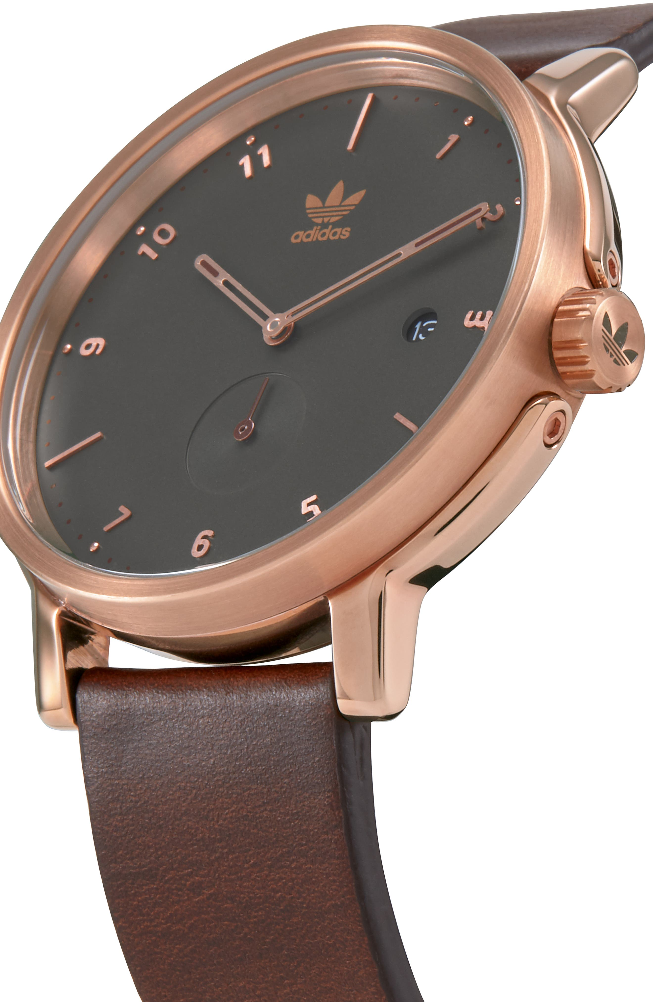 ADIDAS, District Leather Strap Watch, 40mm, Alternate thumbnail 5, color, BROWN/ OLIVE/ ROSE GOLD