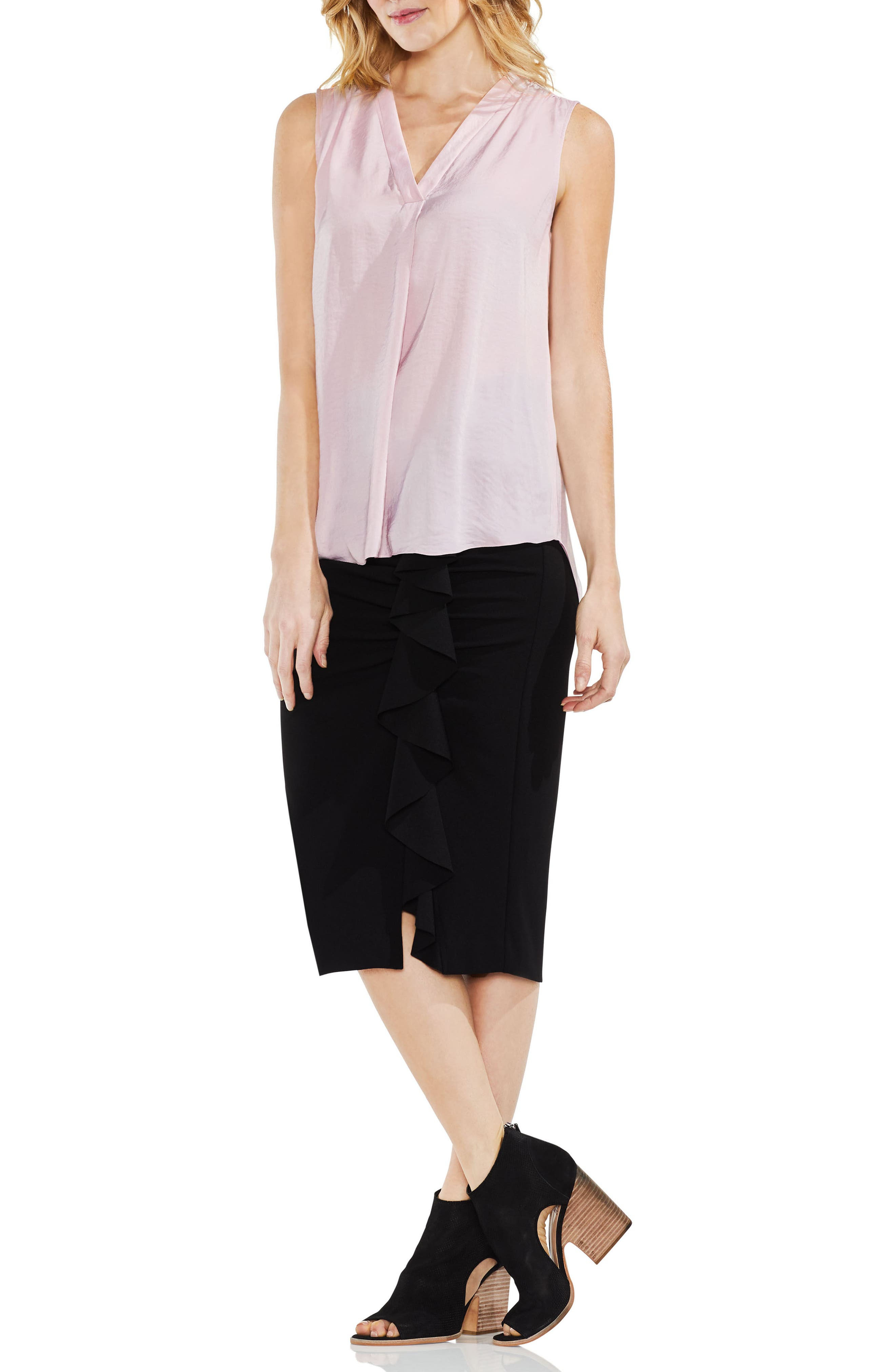 VINCE CAMUTO, Rumpled Satin Blouse, Alternate thumbnail 6, color, PINK BLISS