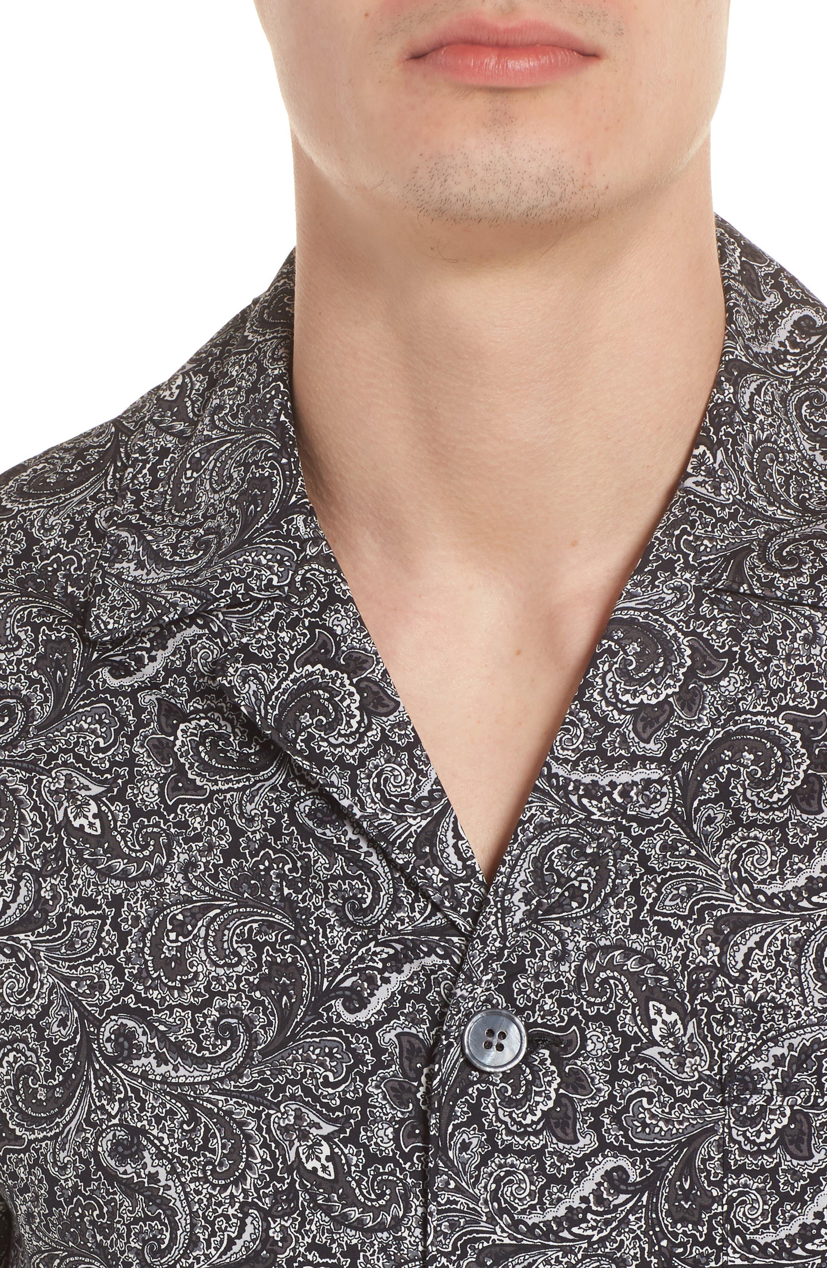 MAJESTIC INTERNATIONAL, Starling Pajama Set, Alternate thumbnail 4, color, BLACK PAISLEY