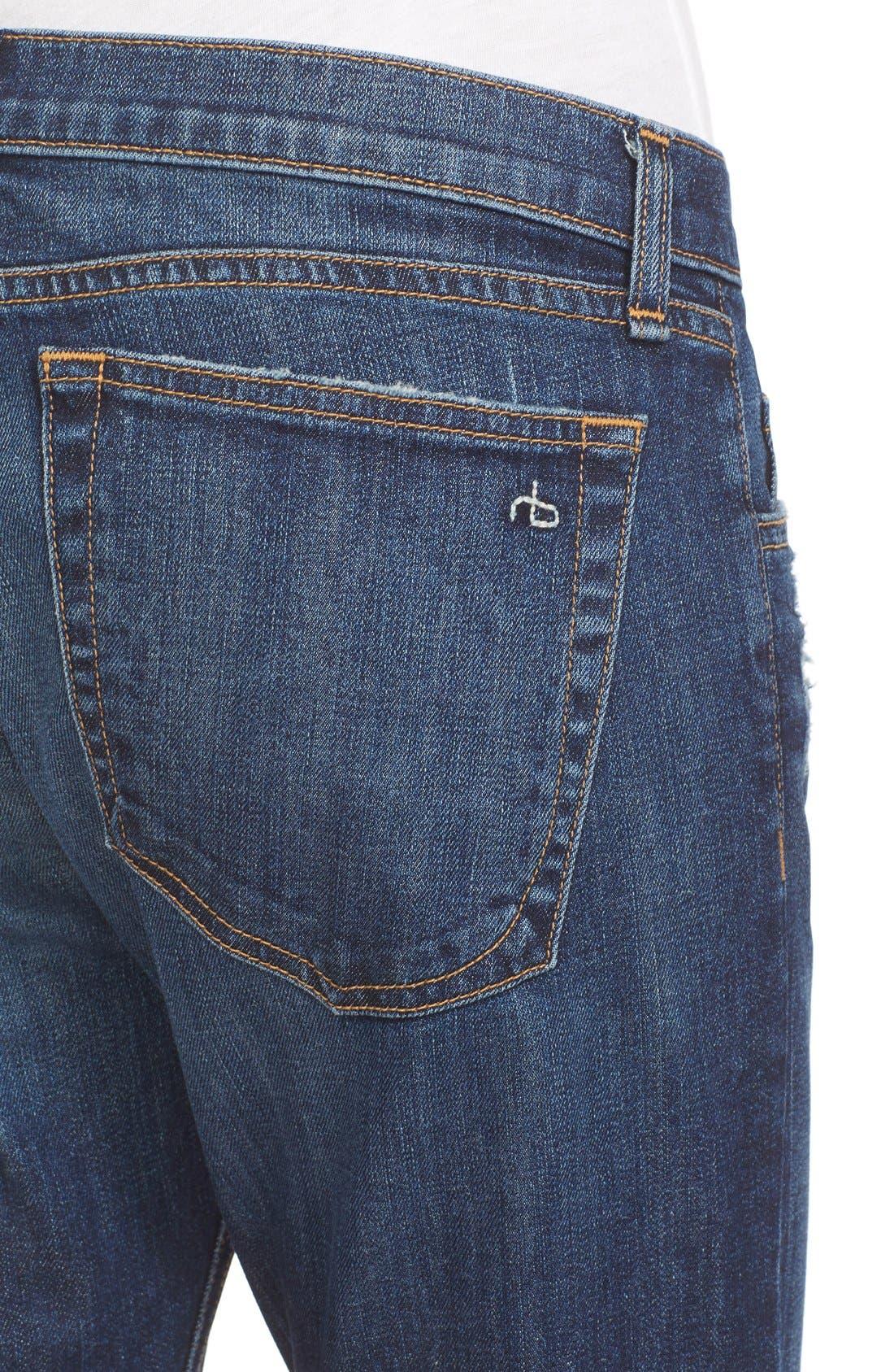 RAG & BONE, The Dre Slim Boyfriend Jeans, Alternate thumbnail 5, color, 423