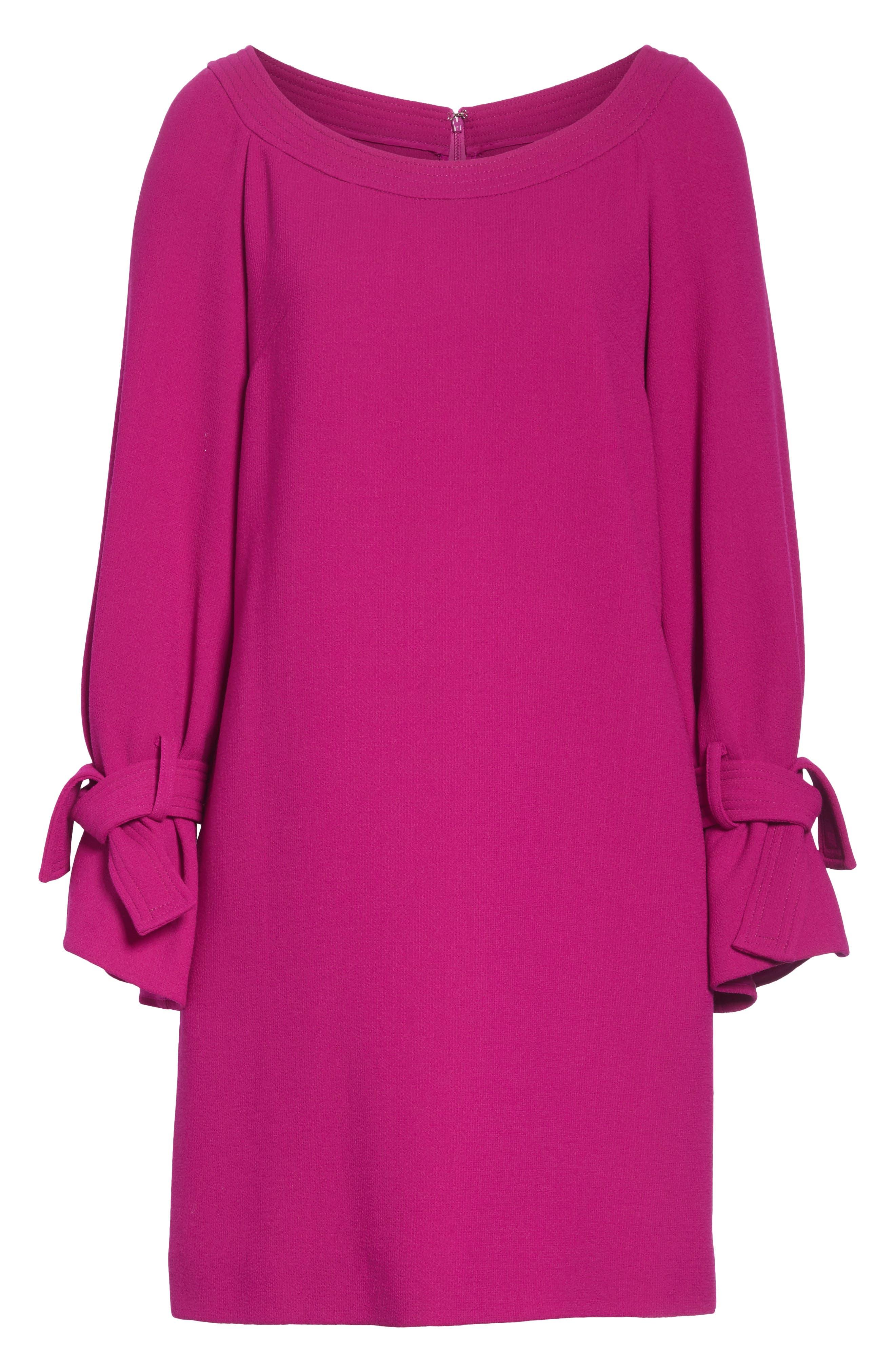 LELA ROSE, Tie Cuff Wool Blend Crepe Shift Dress, Alternate thumbnail 7, color, MAGENTA
