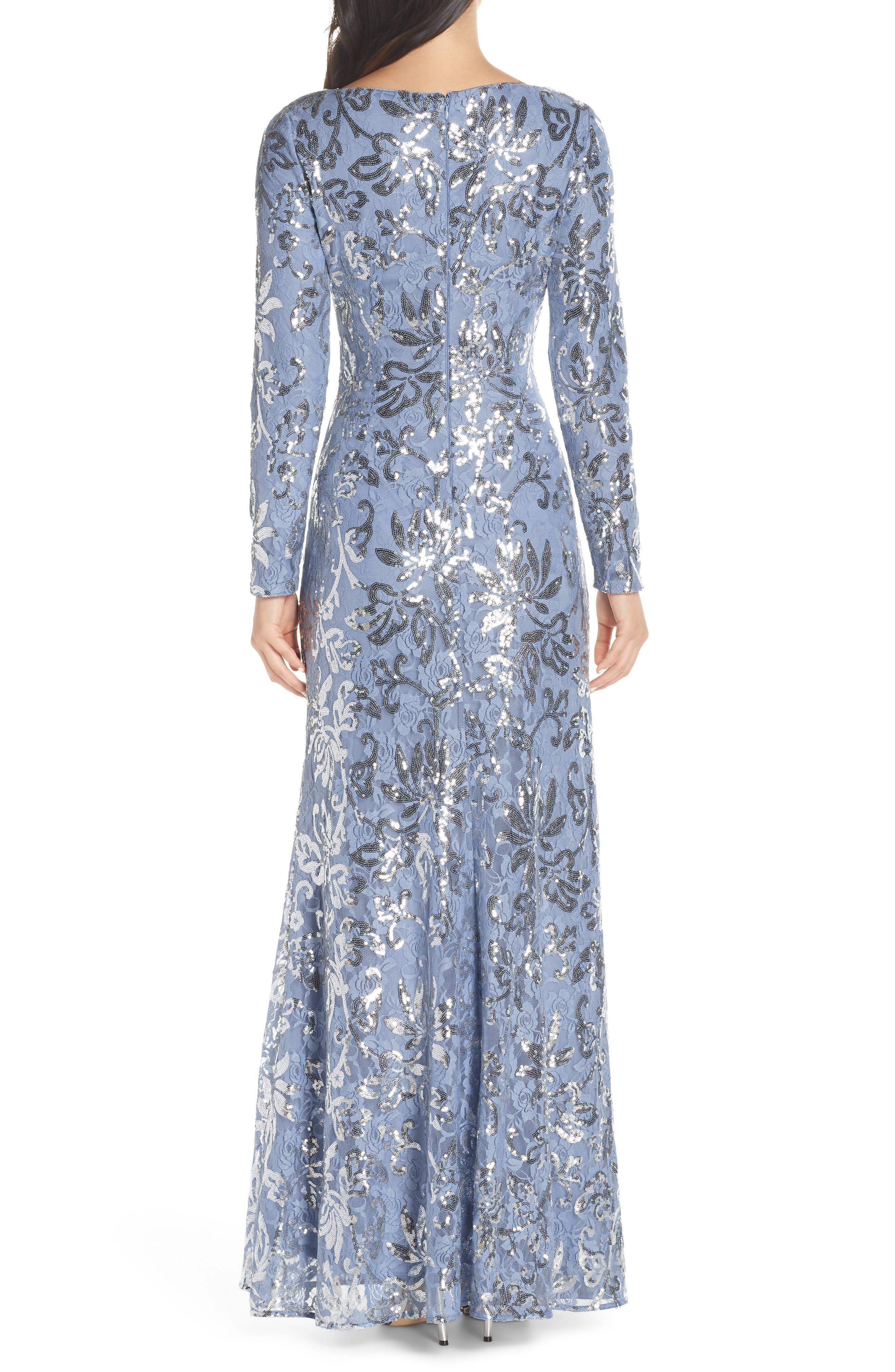 VINCE CAMUTO, Lace & Sequin Evening Dress, Alternate thumbnail 2, color, SKY BLUE