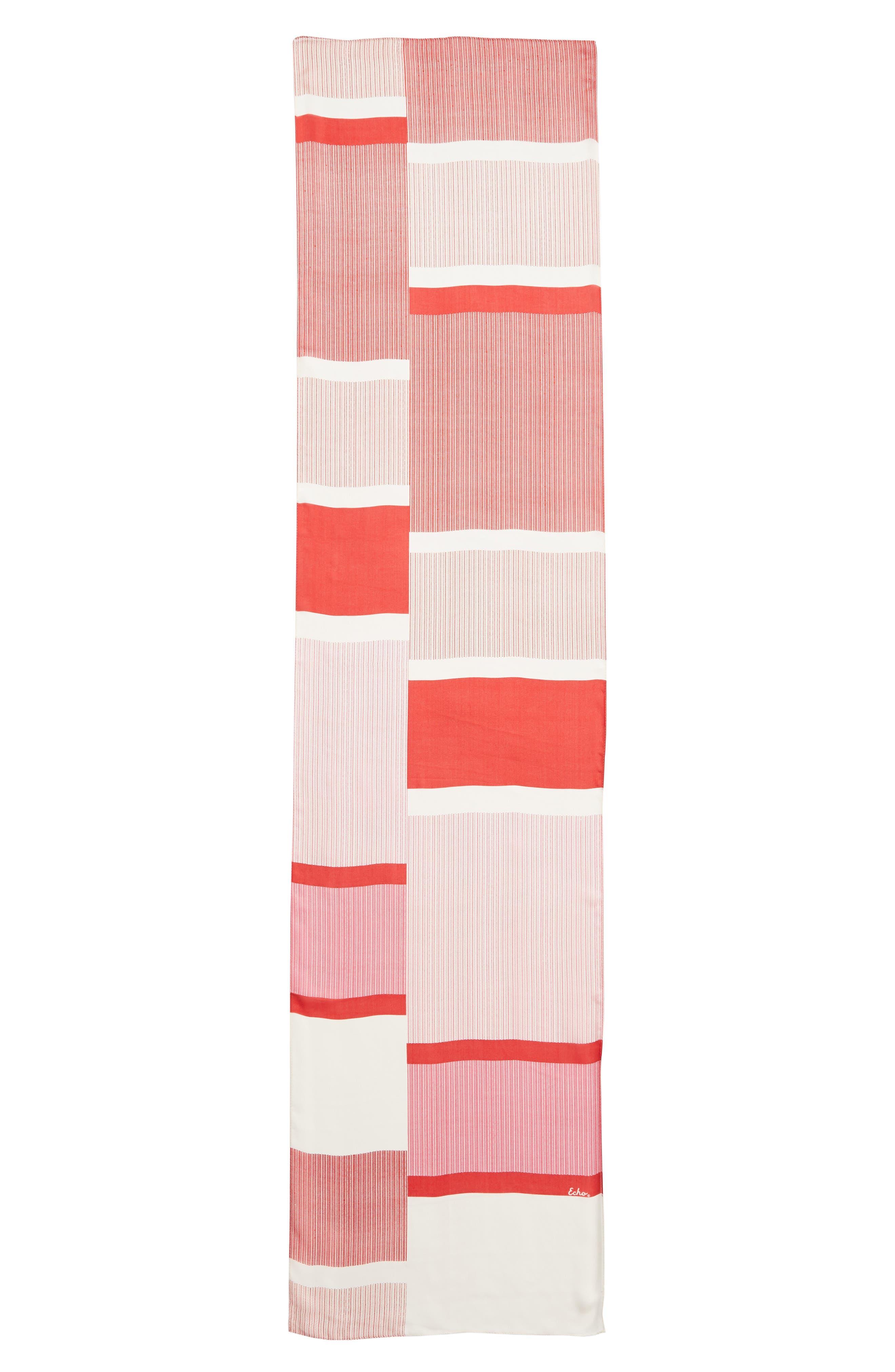 ECHO, Dotty Stripe Silk Scarf, Alternate thumbnail 3, color, RESORT RED