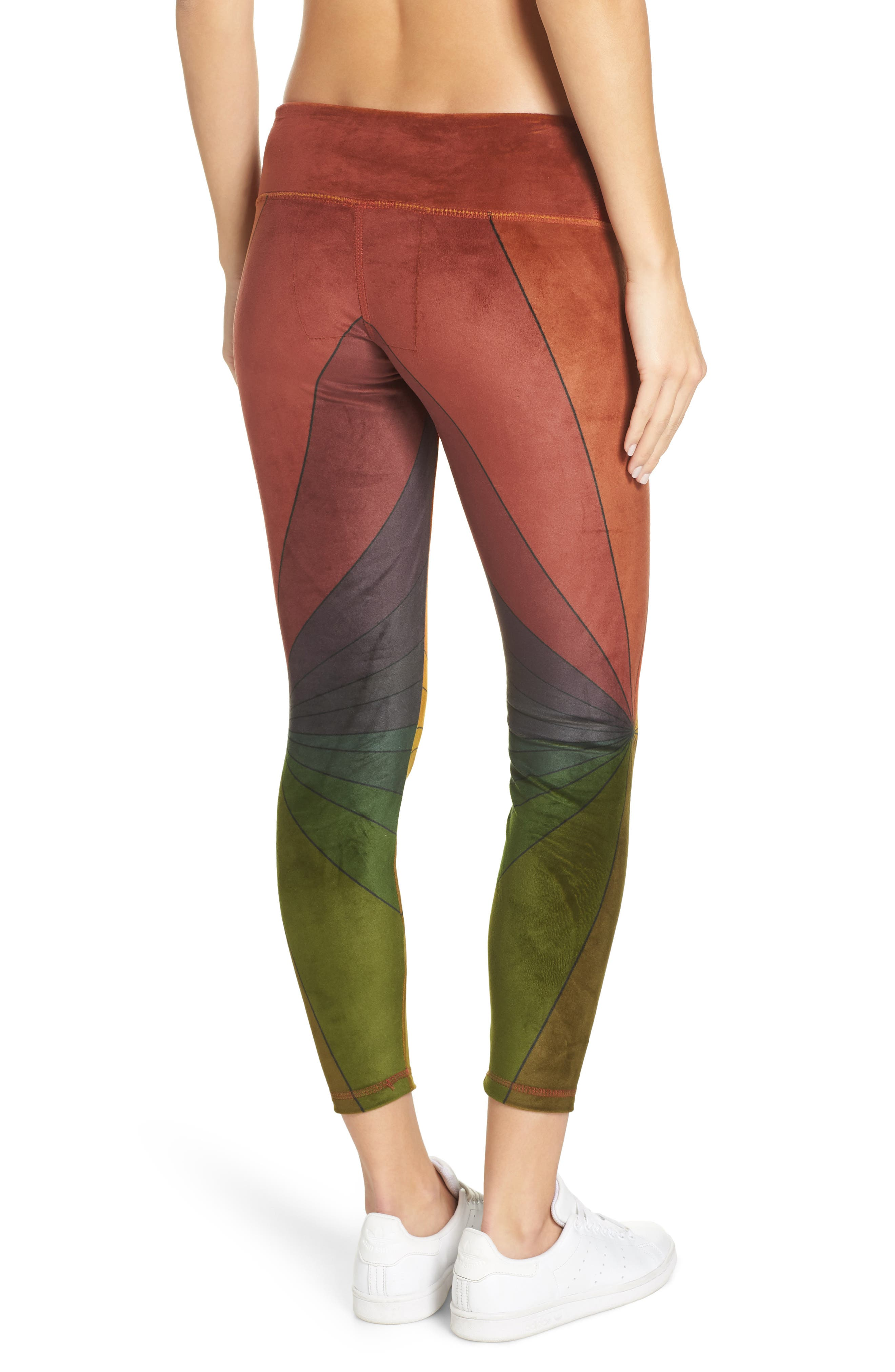 AVIATOR NATION, Rainbow Sunburst Velour Leggings, Alternate thumbnail 2, color, 600