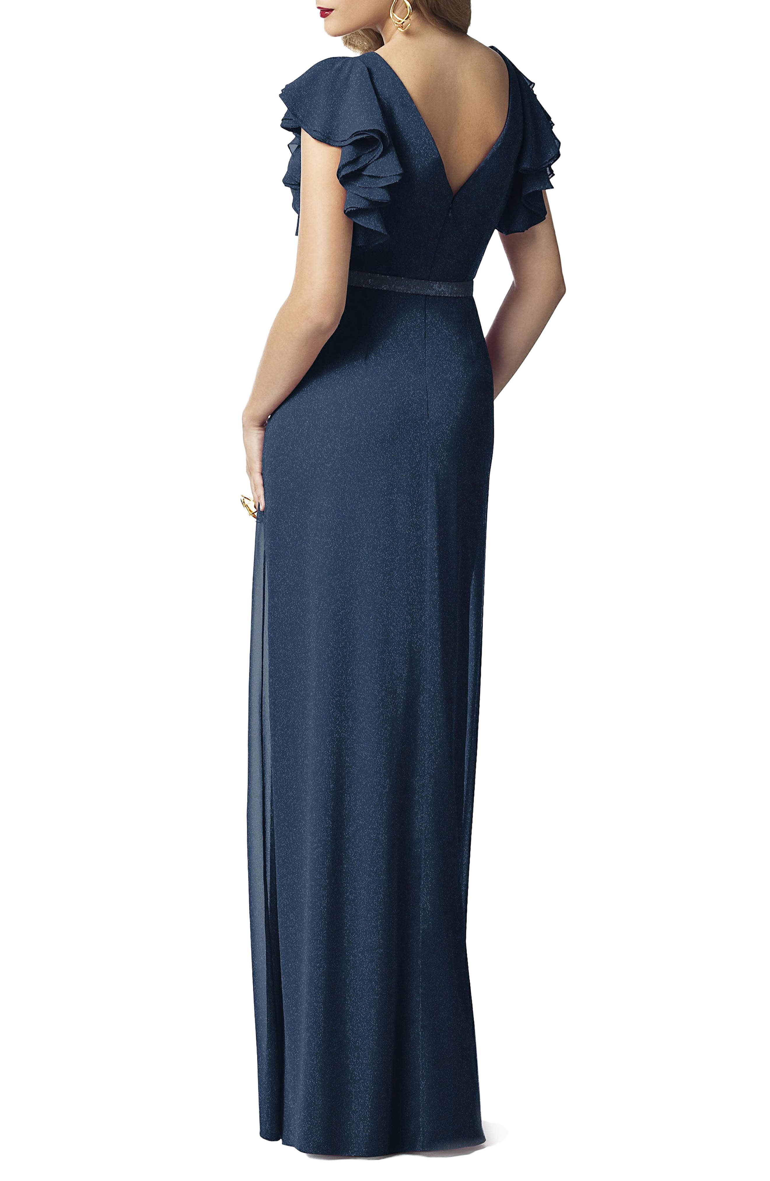 DESSY COLLECTION, Sequin Flutter Sleeve Gown, Alternate thumbnail 2, color, MIDNIGHT GOLD