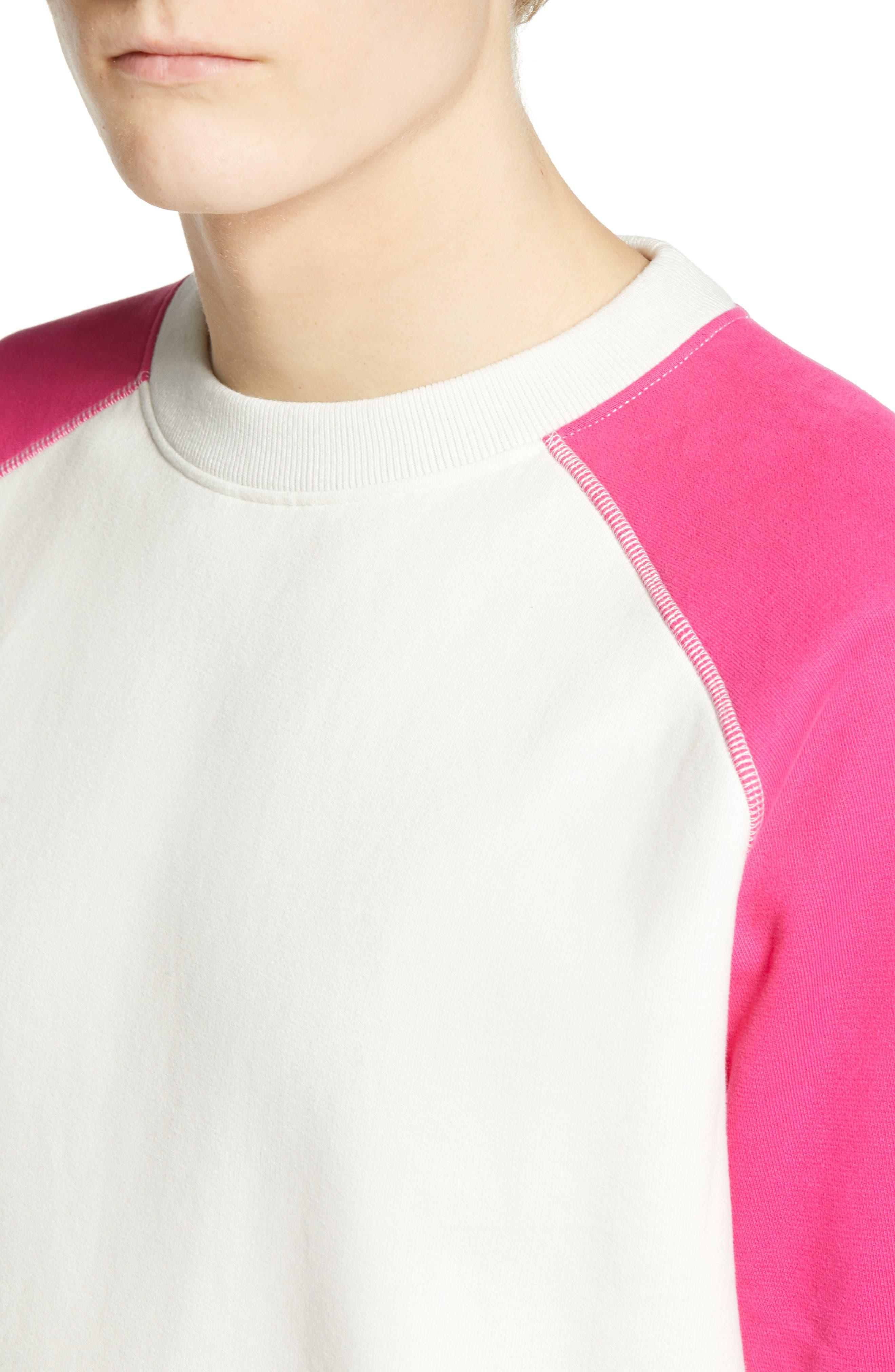 LEVI'S<SUP>®</SUP> MADE & CRAFTED<SUP>™</SUP>, Regular Fit Raglan Sweatshirt, Alternate thumbnail 4, color, WHITE ALYSSUM