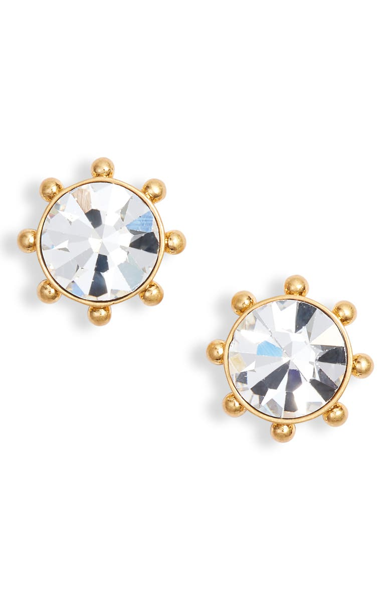 KATE SPADE NEW YORK flying colors bezel stud earrings, Main, color, CLEAR