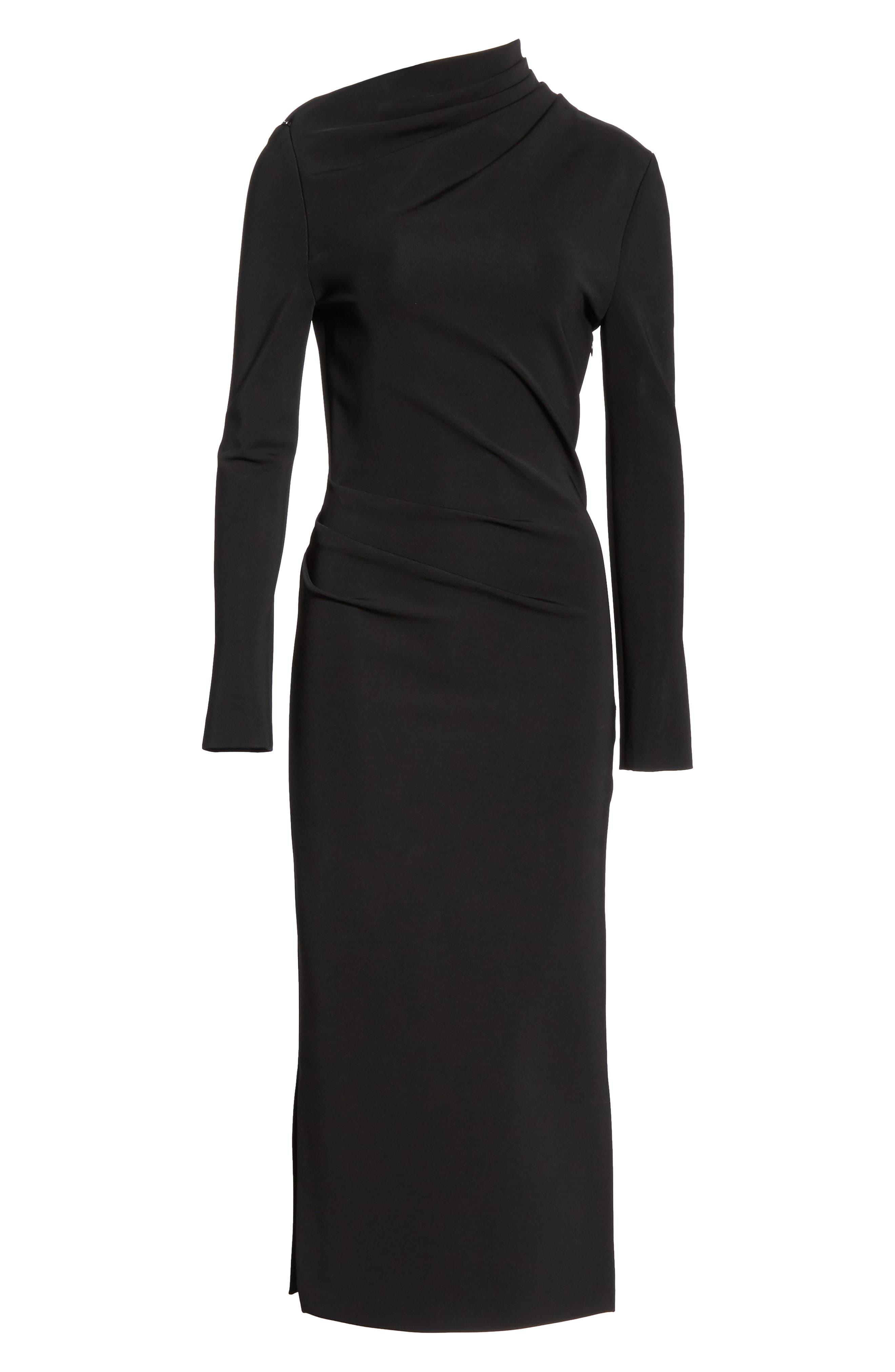 BRANDON MAXWELL, Side Drape Jersey Dress, Alternate thumbnail 7, color, BLACK